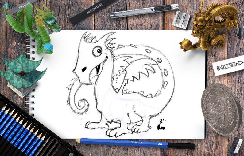 How to draw a Simple dragon step by step