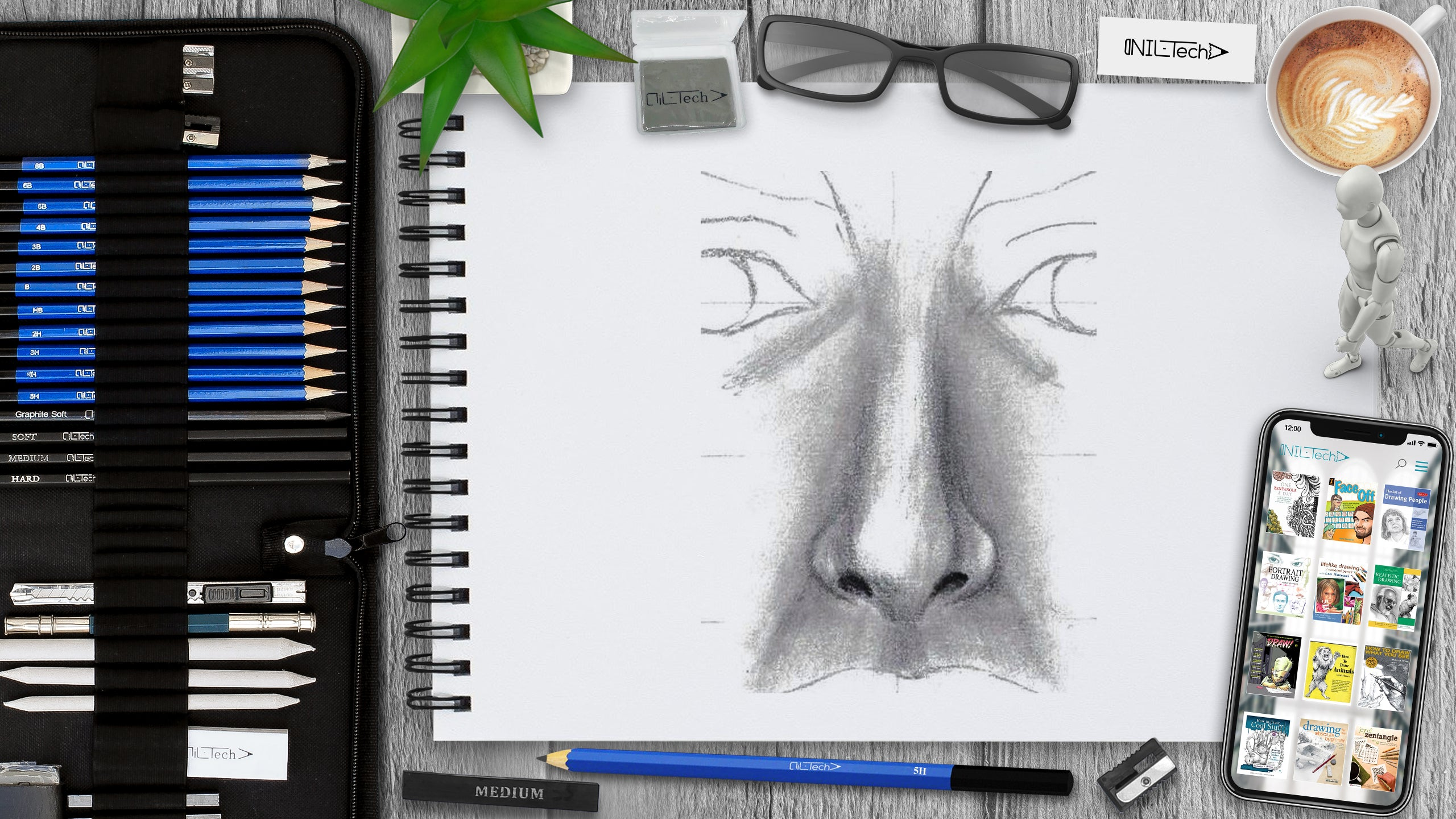 How to draw a nose step by step easy