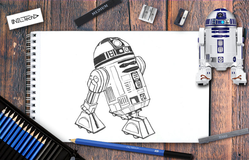 How to draw R2D2 from Star Wars step by step