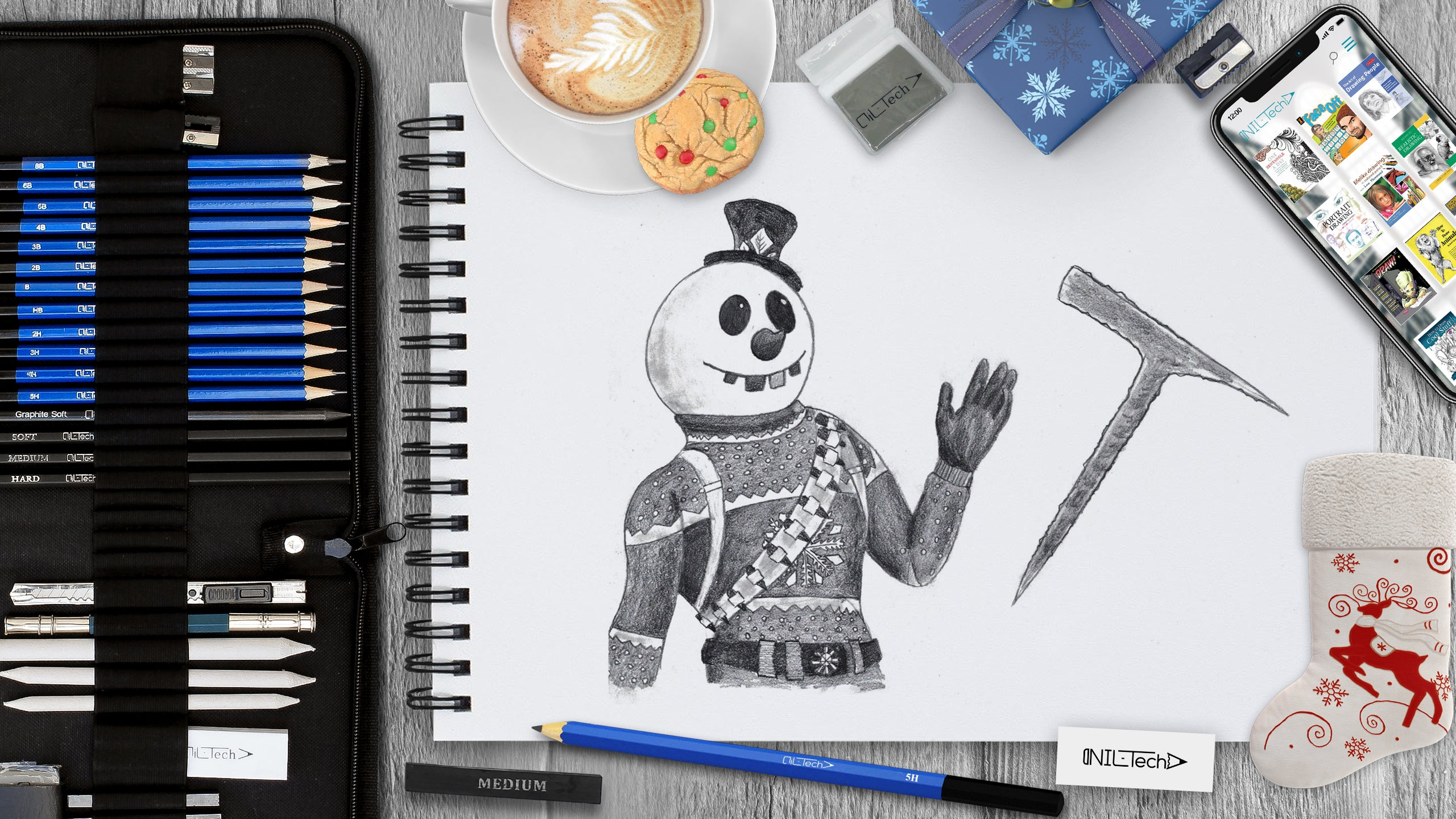How to draw 'Snowman' Skin from Fortnite