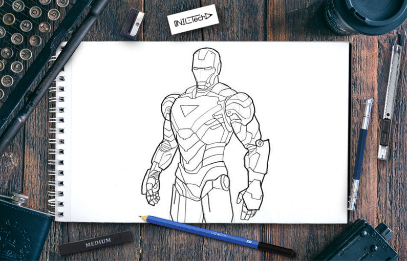 How to draw Iron Man Mk. VI step by step