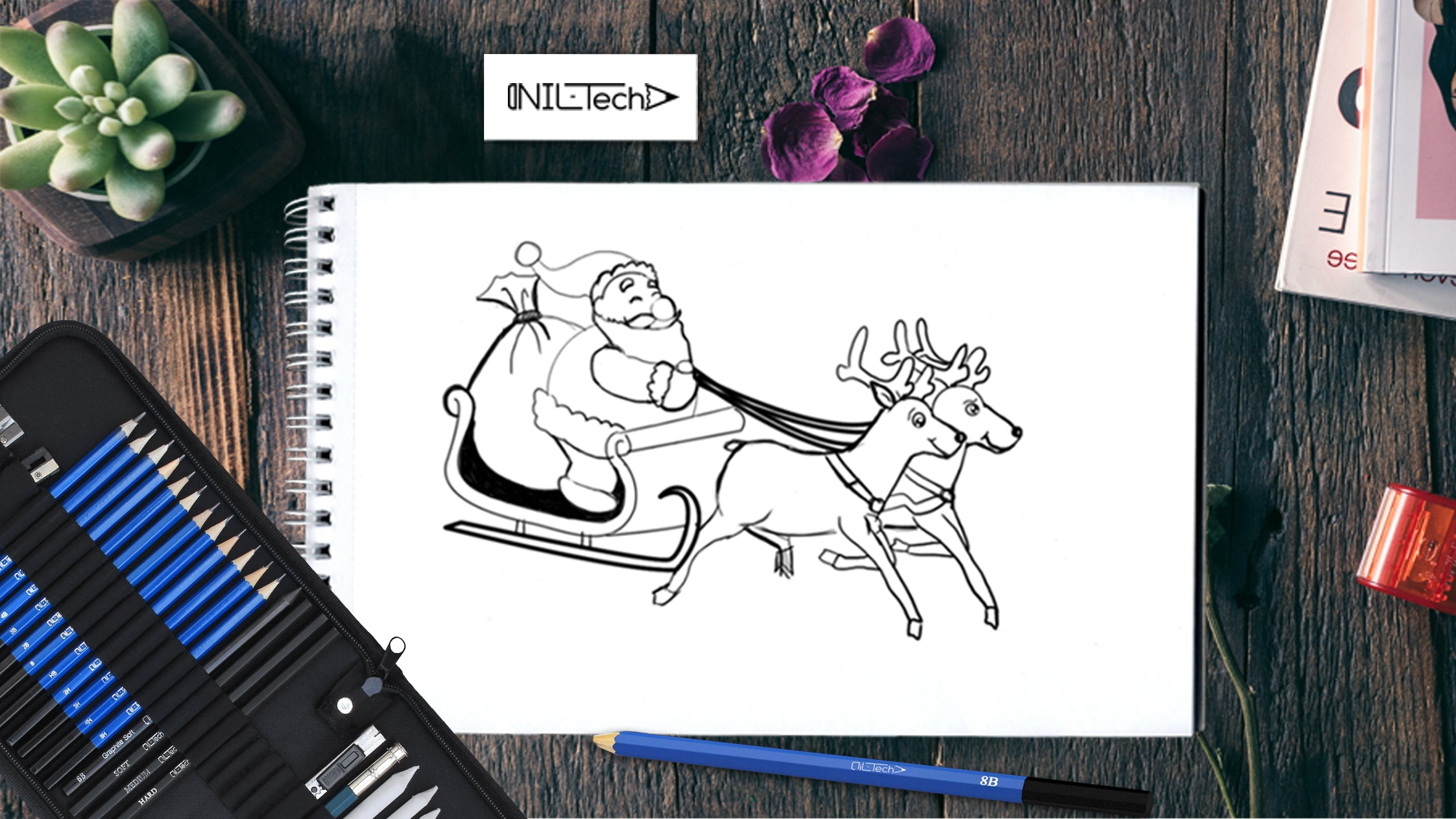 How to draw Santa sleigh and reindeer