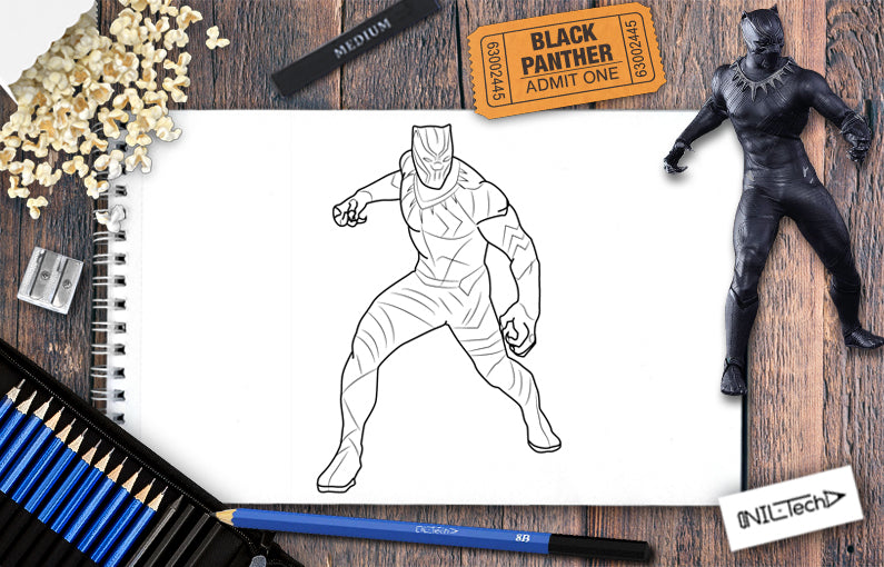How to Draw Black Panther step by step