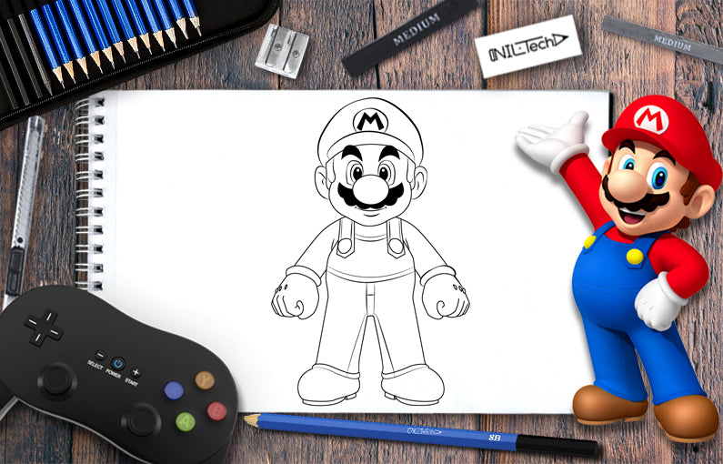 How to draw Mario step by step tutorial