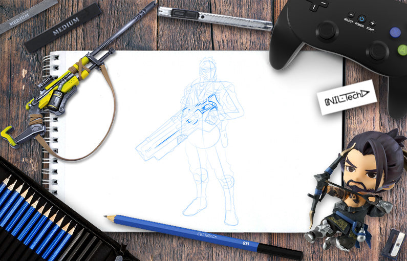 How to draw Soldier: 76 from Overwatch guide step by step