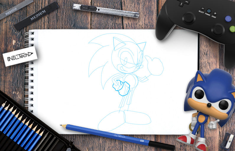 How to draw Sonic step by step tutorial