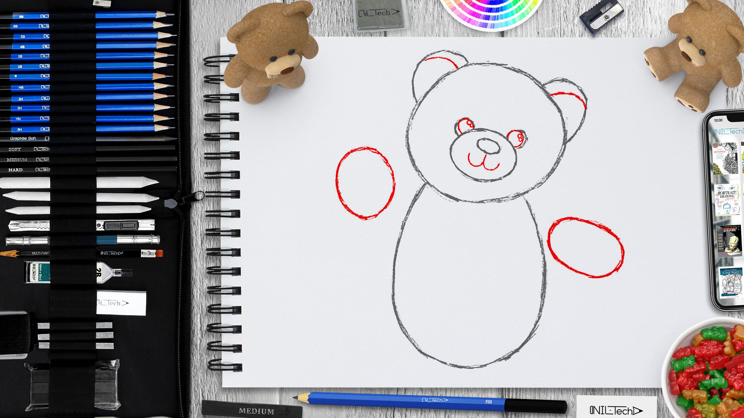 simple teddy bear pencil drawing tutorial