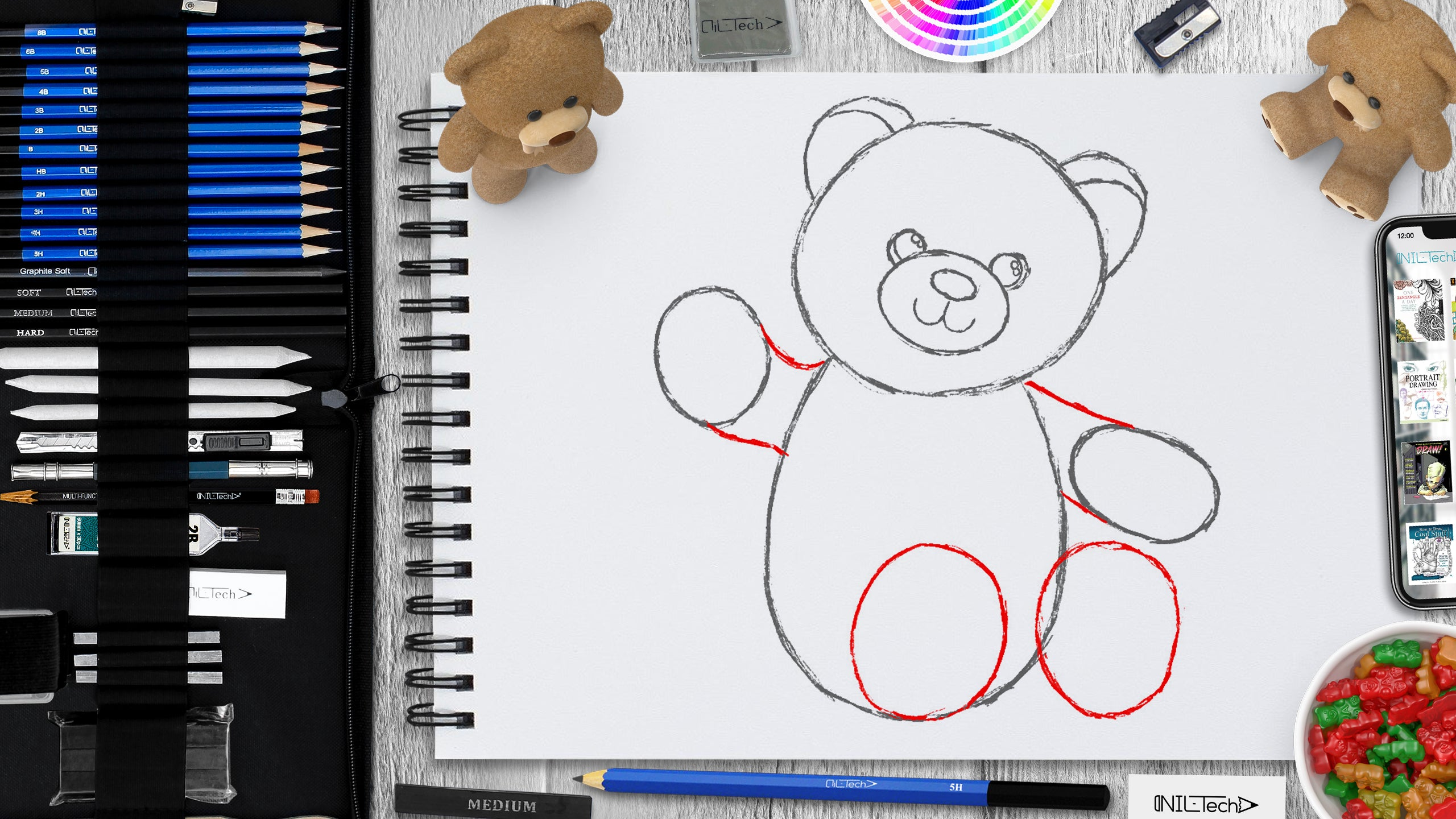 Have a Party with Your Bear Day step by step drawing tutorial