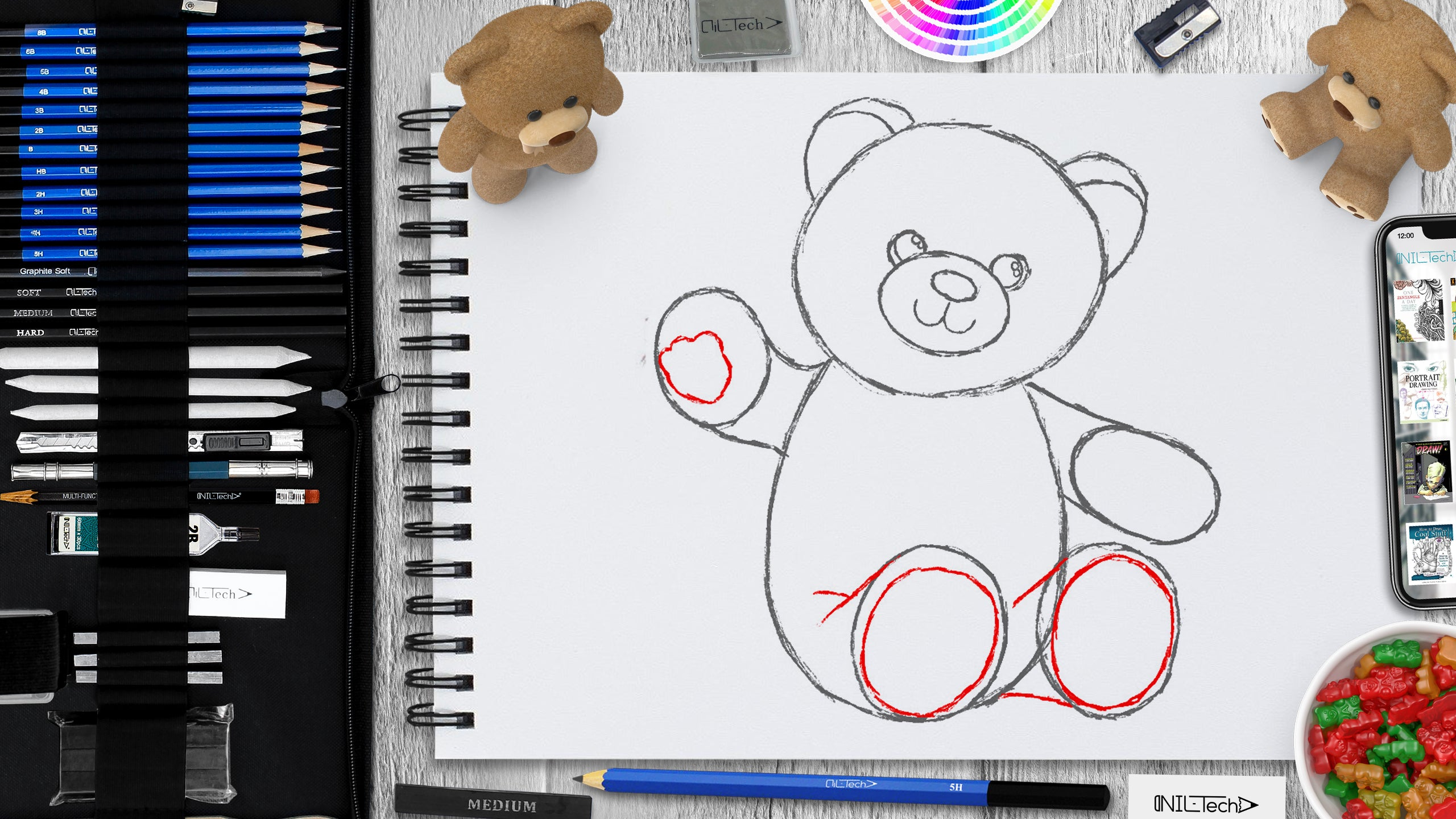 learn to draw a teddy bear step by step