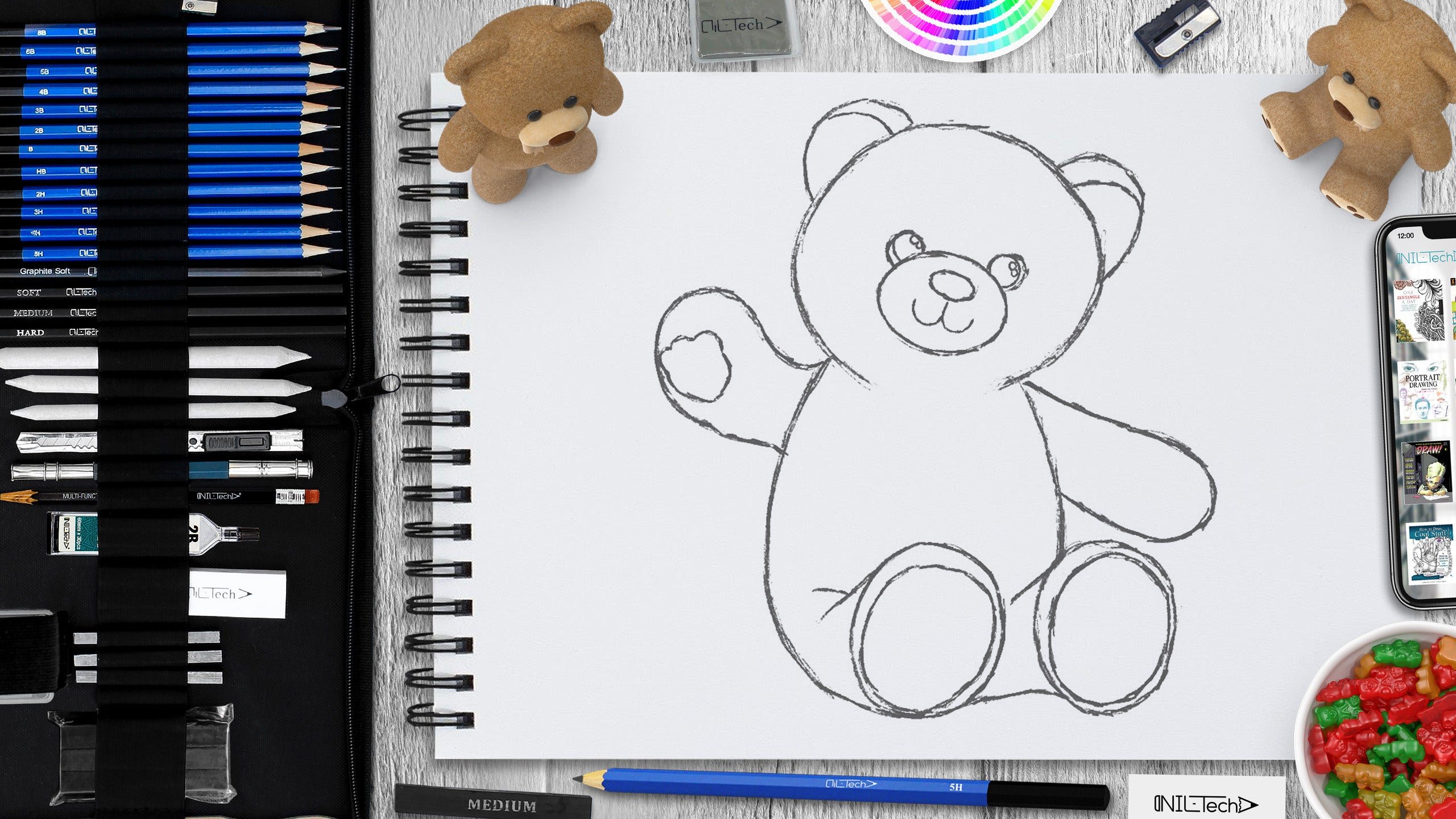 easy teddy bear step by step drawing tutorial