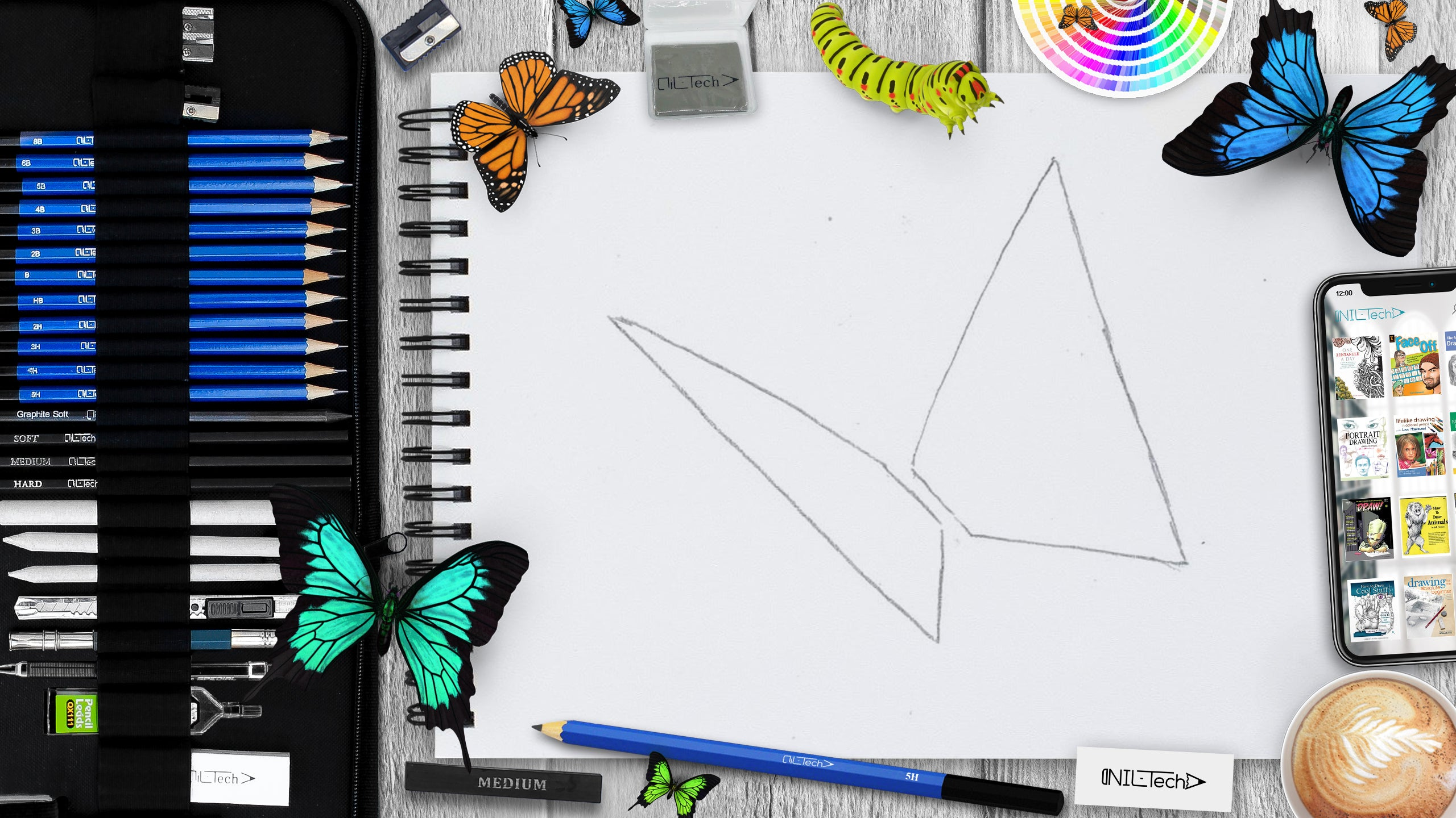 sketch butterfly step by step