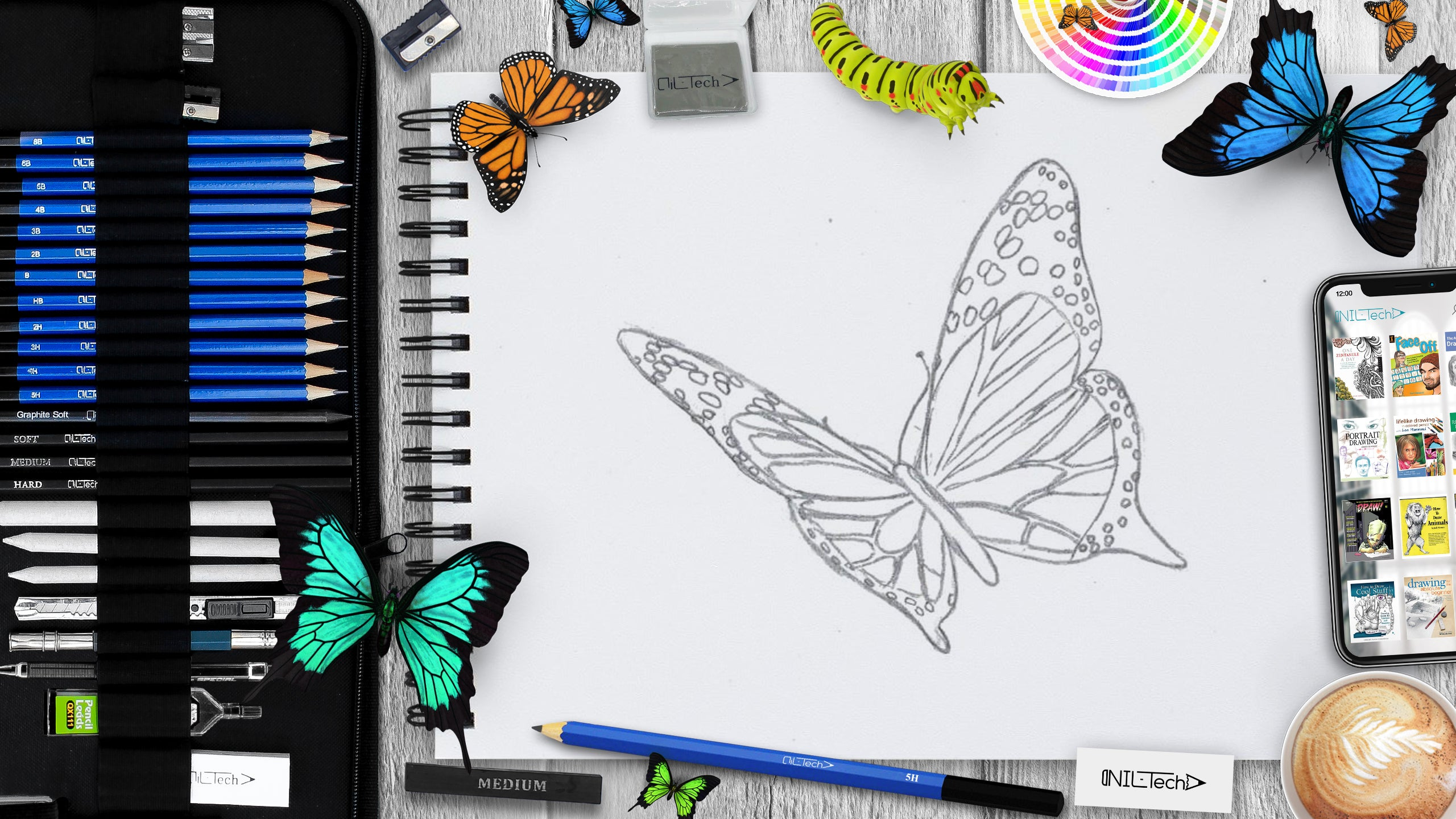Learn to draw butterfly step by step