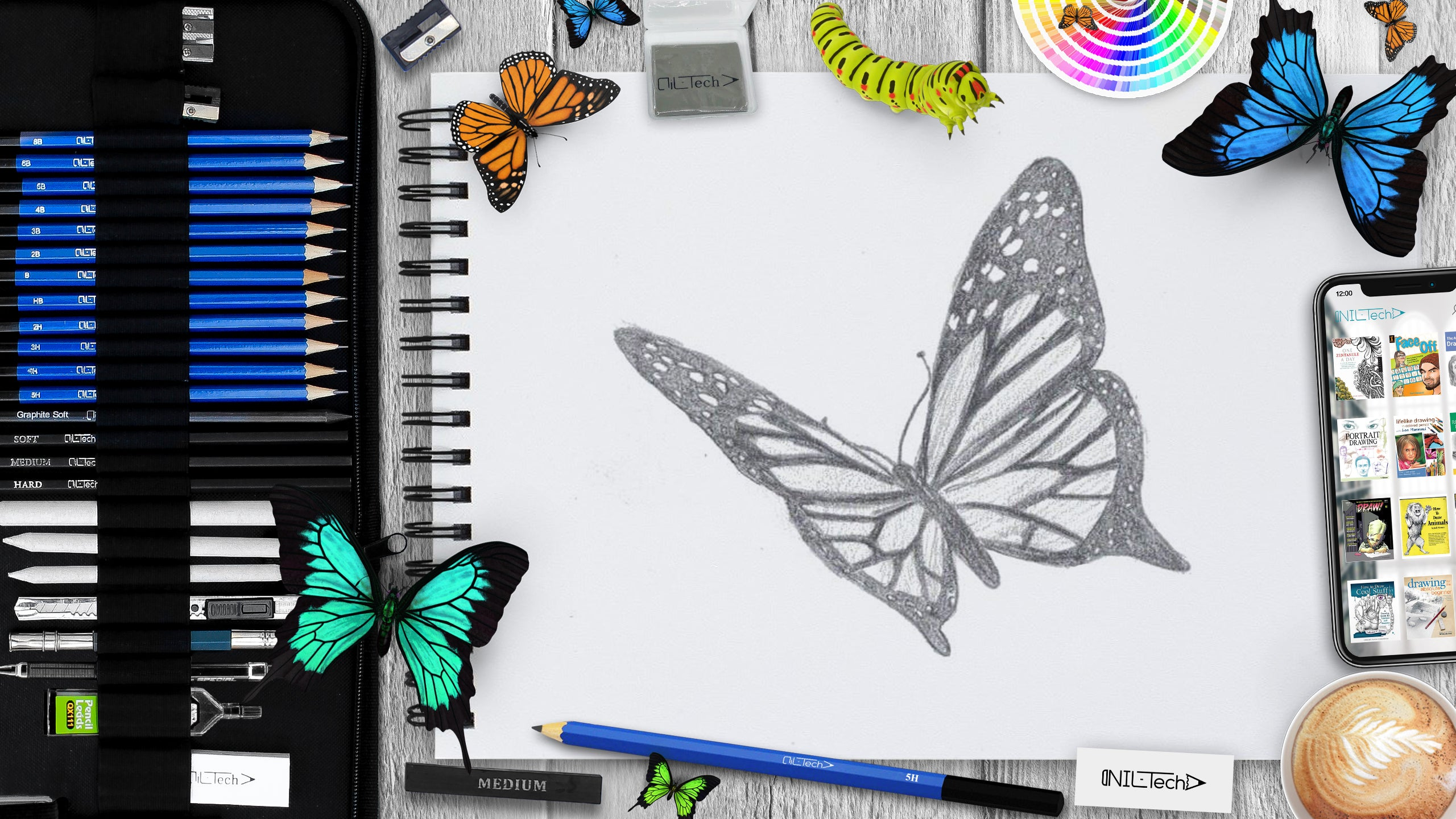 easy How to draw butterfly step by step tutorial