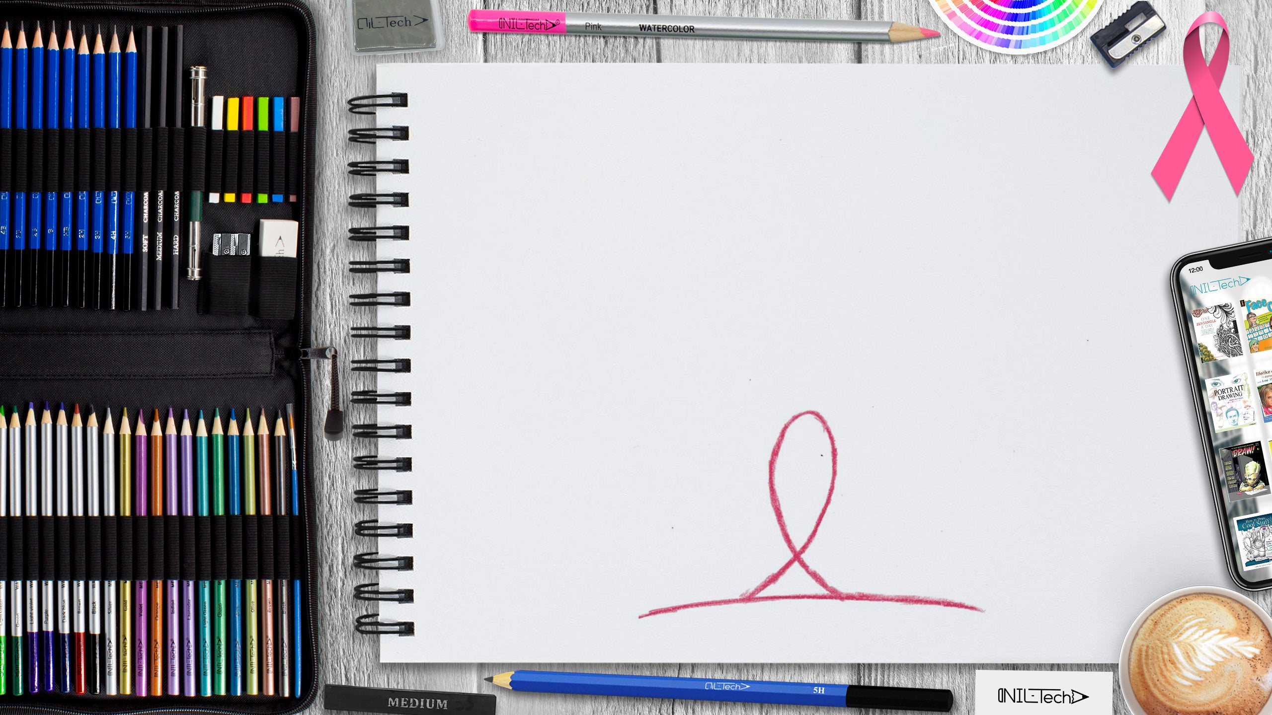 breast cancer step by step drawing tutorial