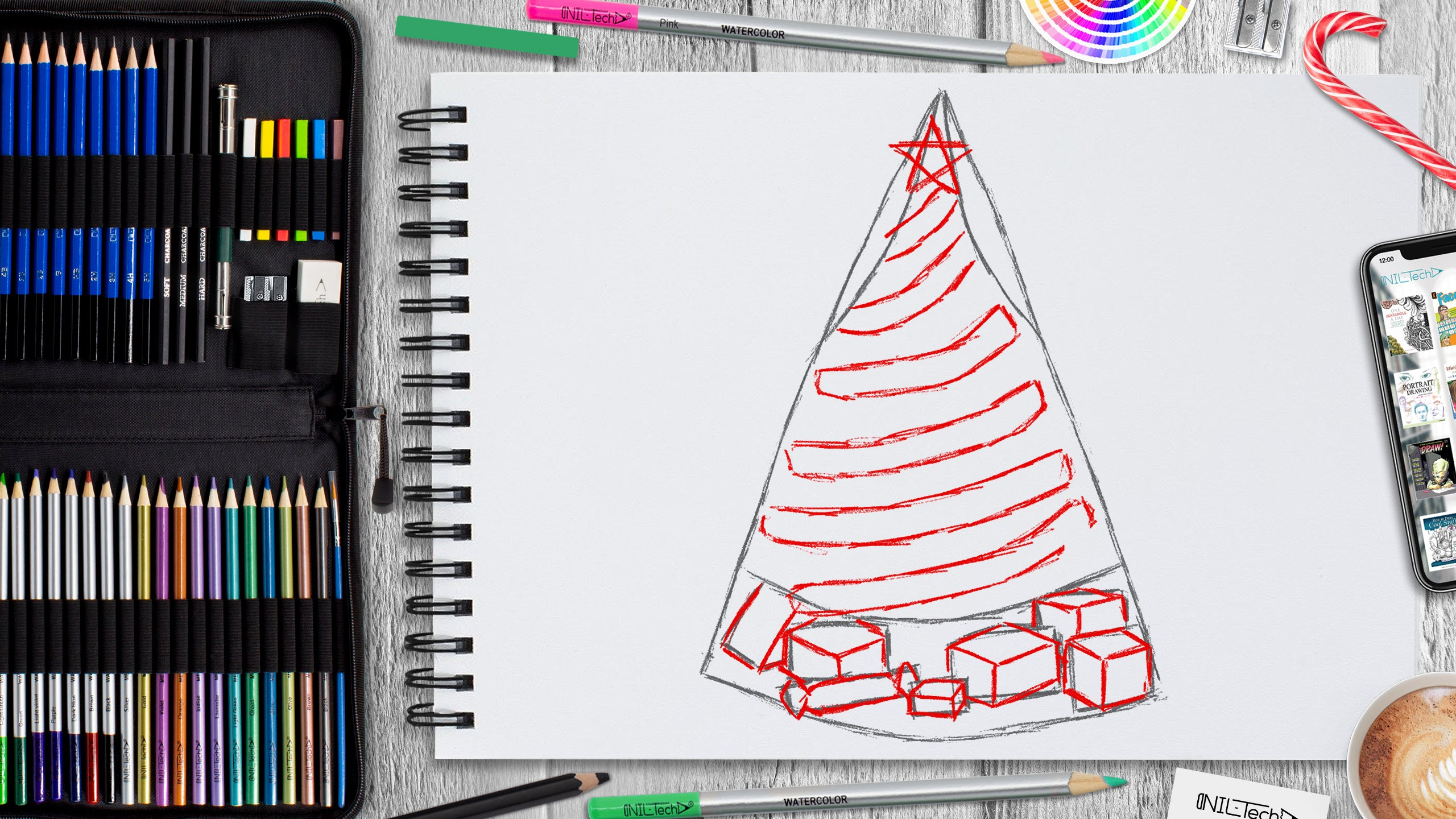 learn how to draw Christmas tree