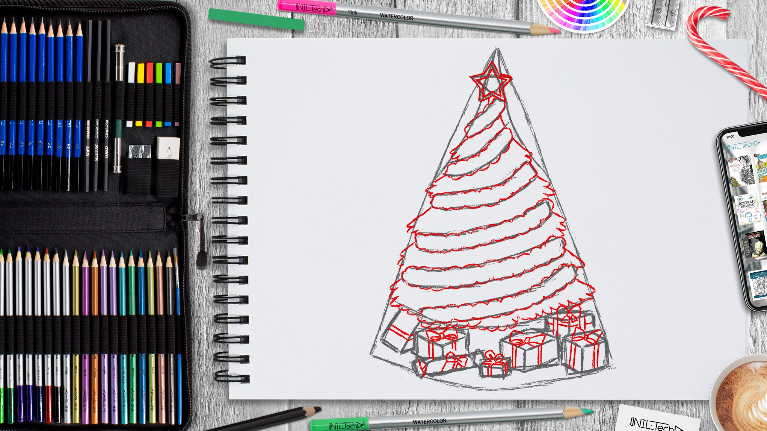 learn to draw Christmas tree step by step