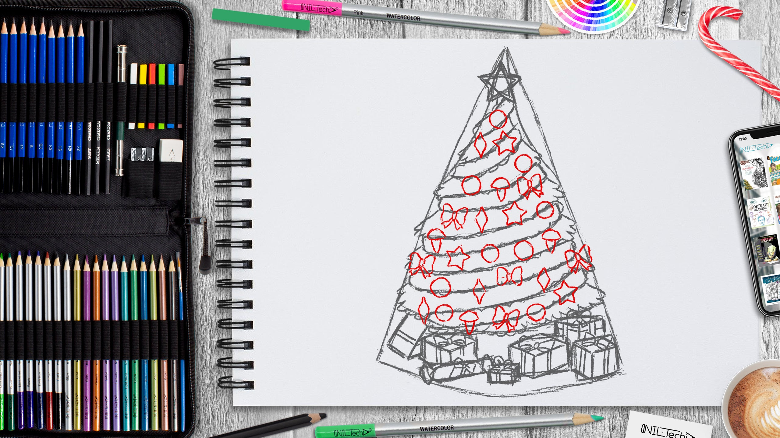 easy New year step by step drawing for kids
