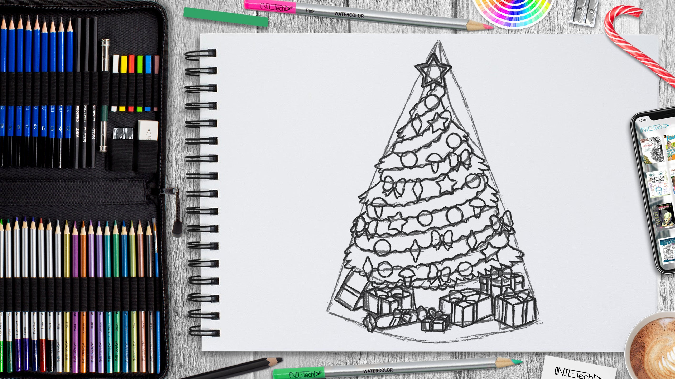 Christmas tree drawing tutorial for beginner