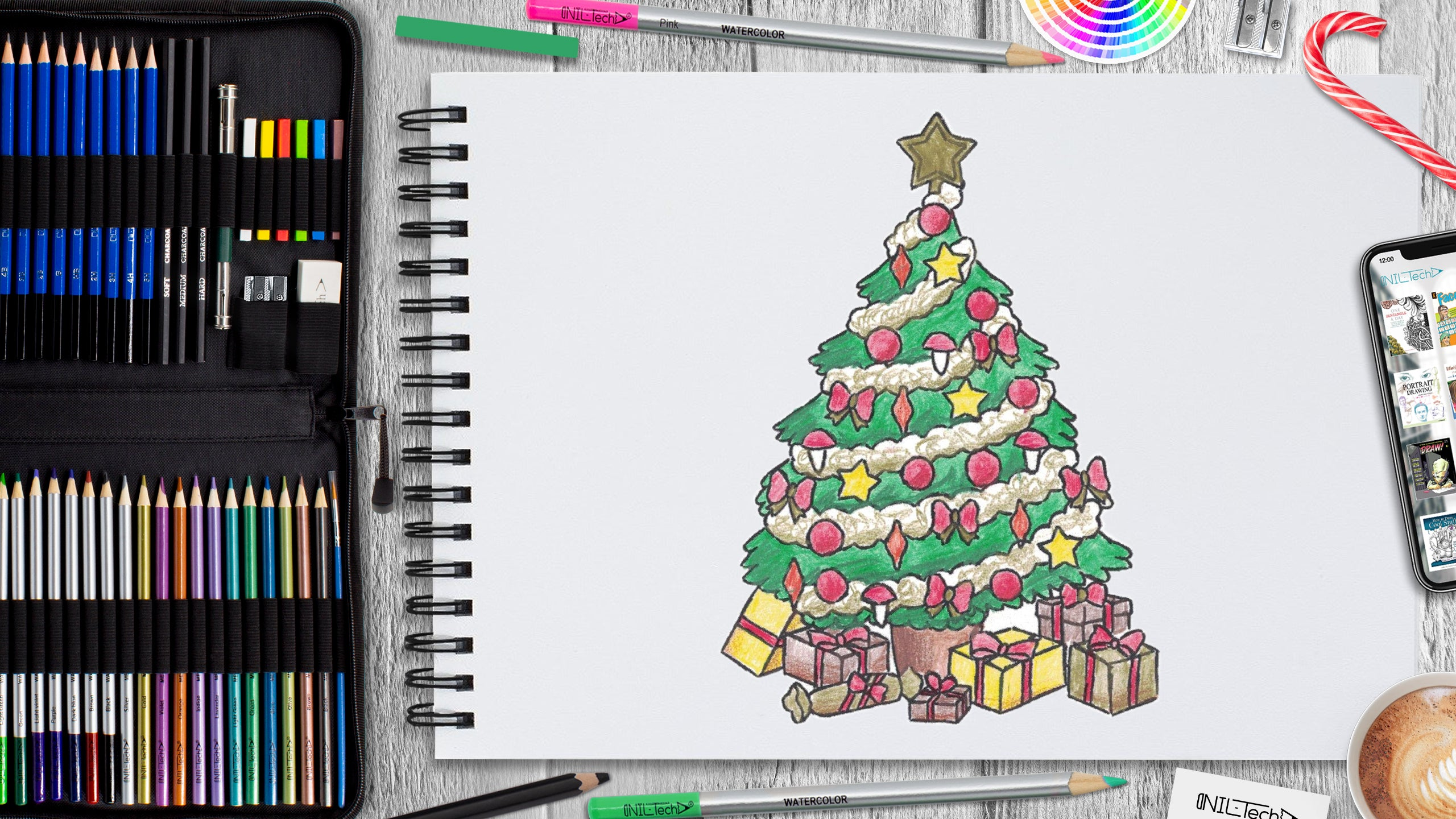 simple new year Christmas tree drawing tutorial