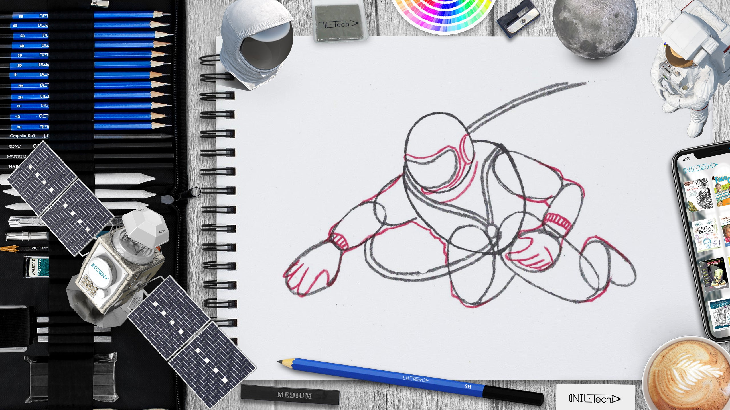how to draw astronaut Alexei Leonov step by step