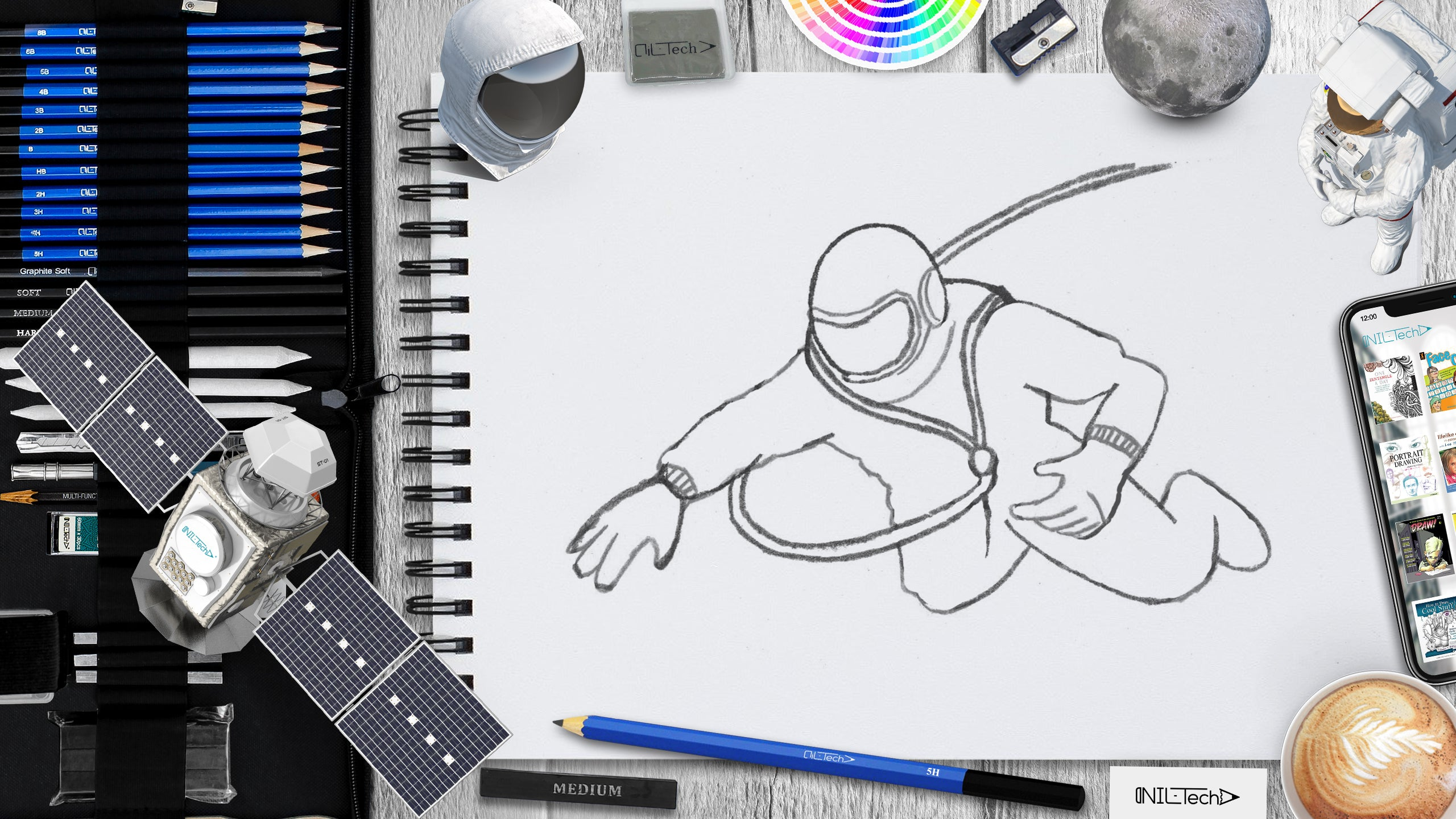 astronaut Alexei Leonov step by step drawing tutorial for beginners