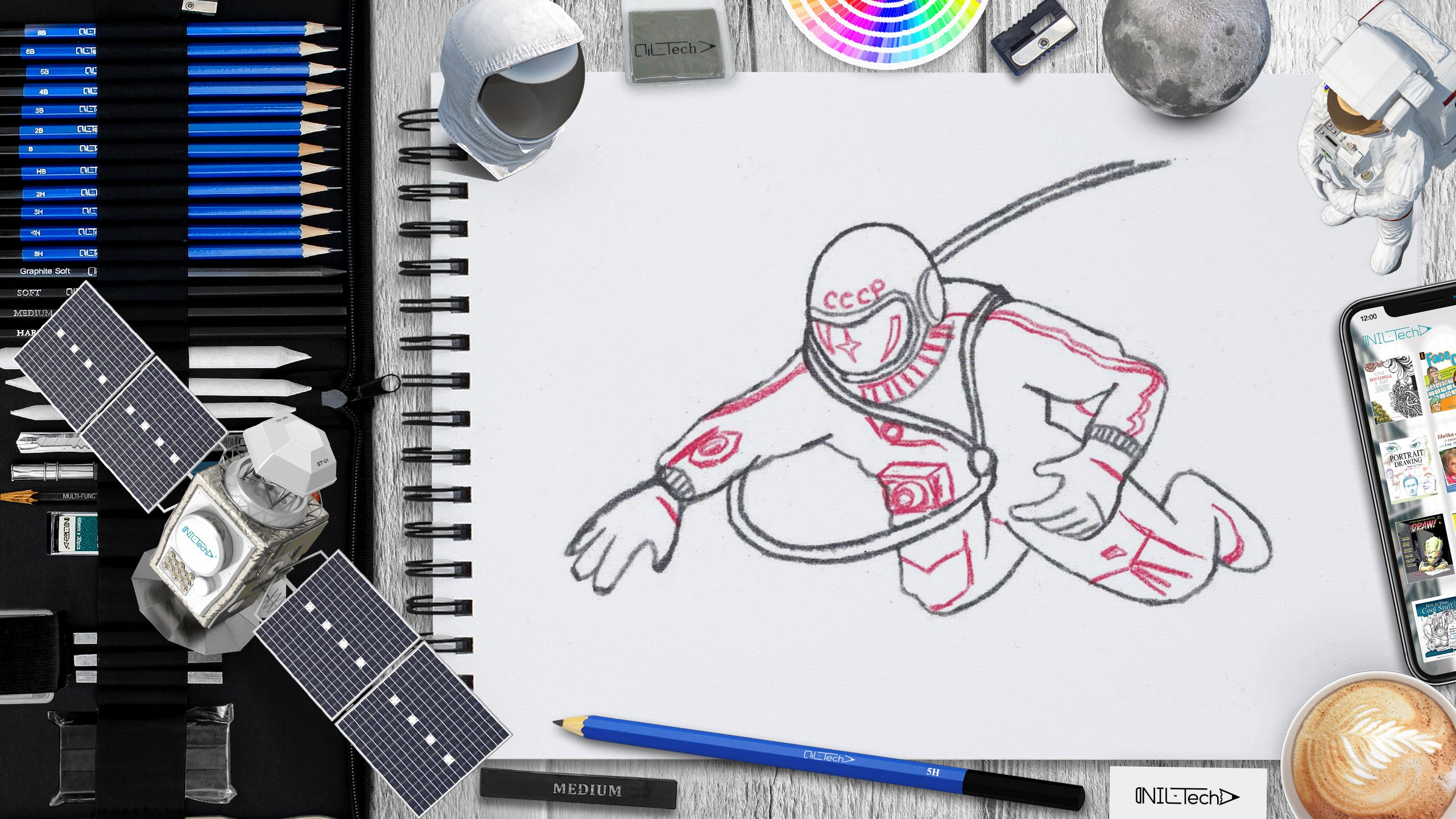 learn how to draw astronaut Alexei Leonov step by step