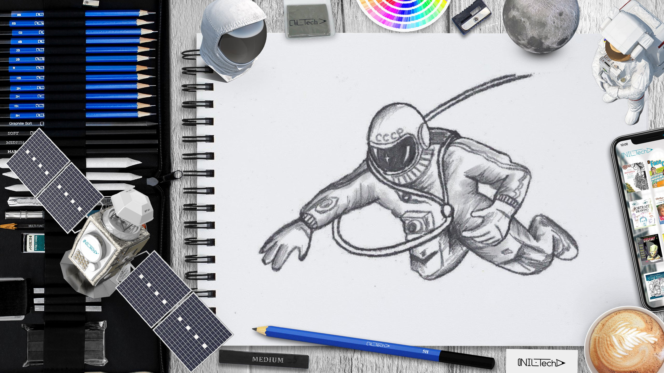 astronaut Alexei Leonov simple step by step drawing tutorial