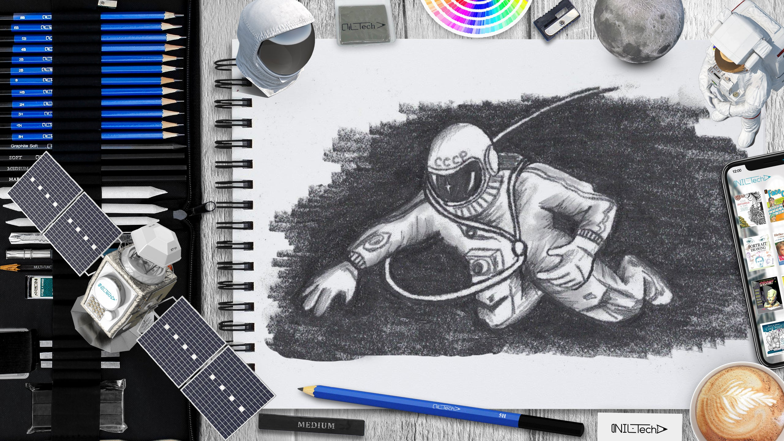 how to draw an astronaut Alexei Leonov step by step