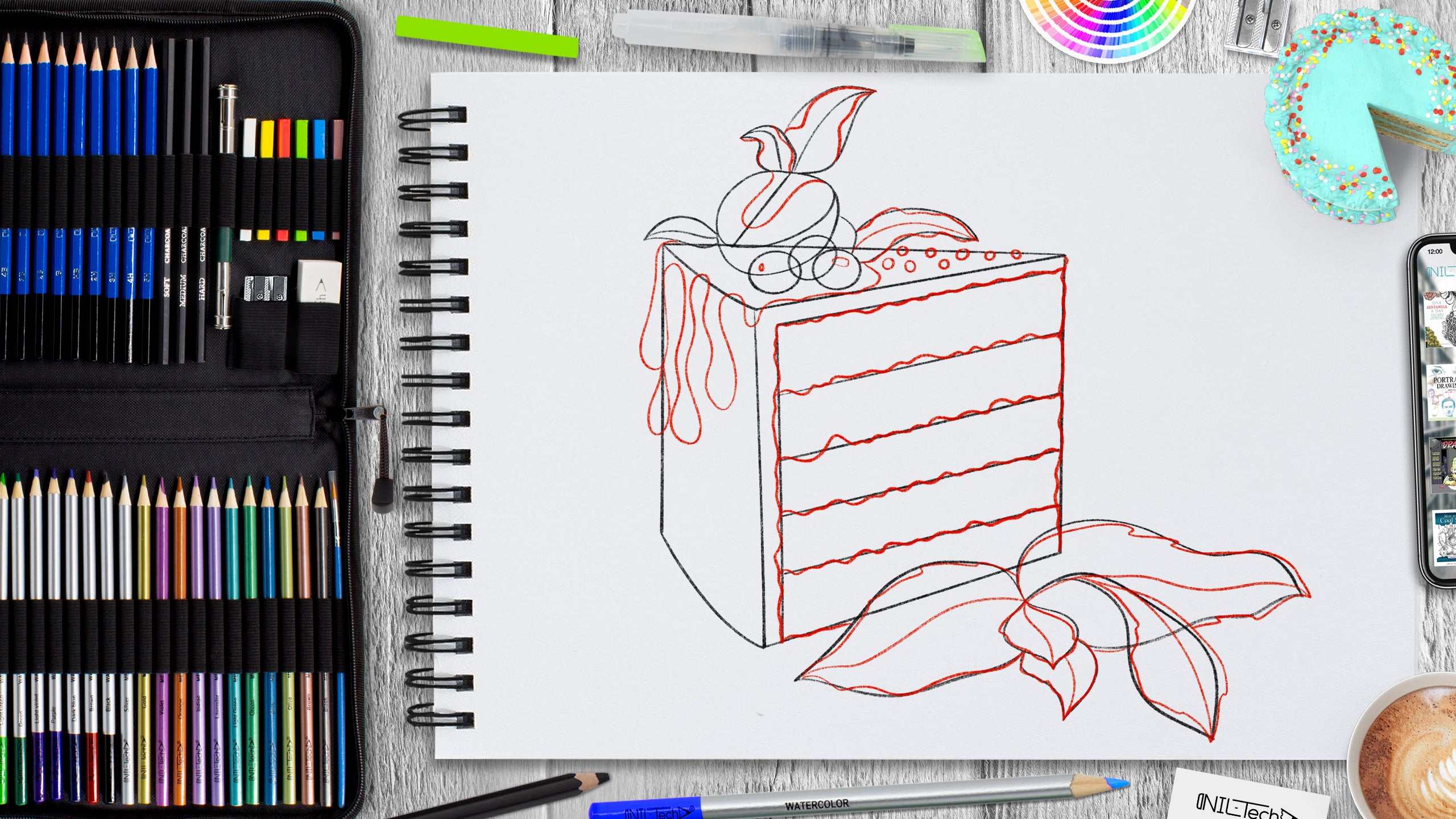 easy cake drawing