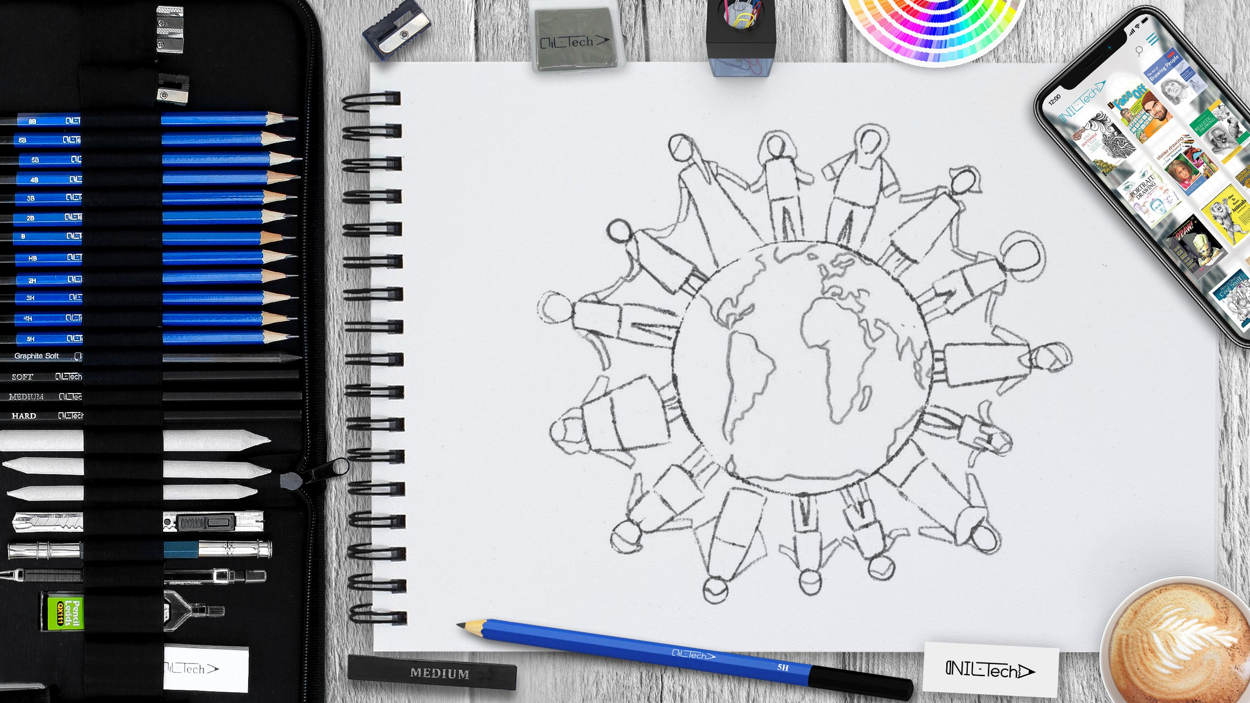 learn making a simple international day of piece drawing