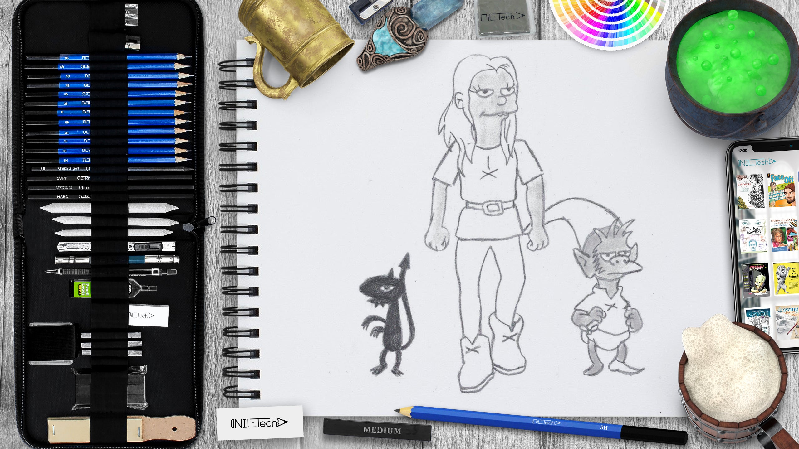 step by step disenchantment characters pencil drawing tutorial