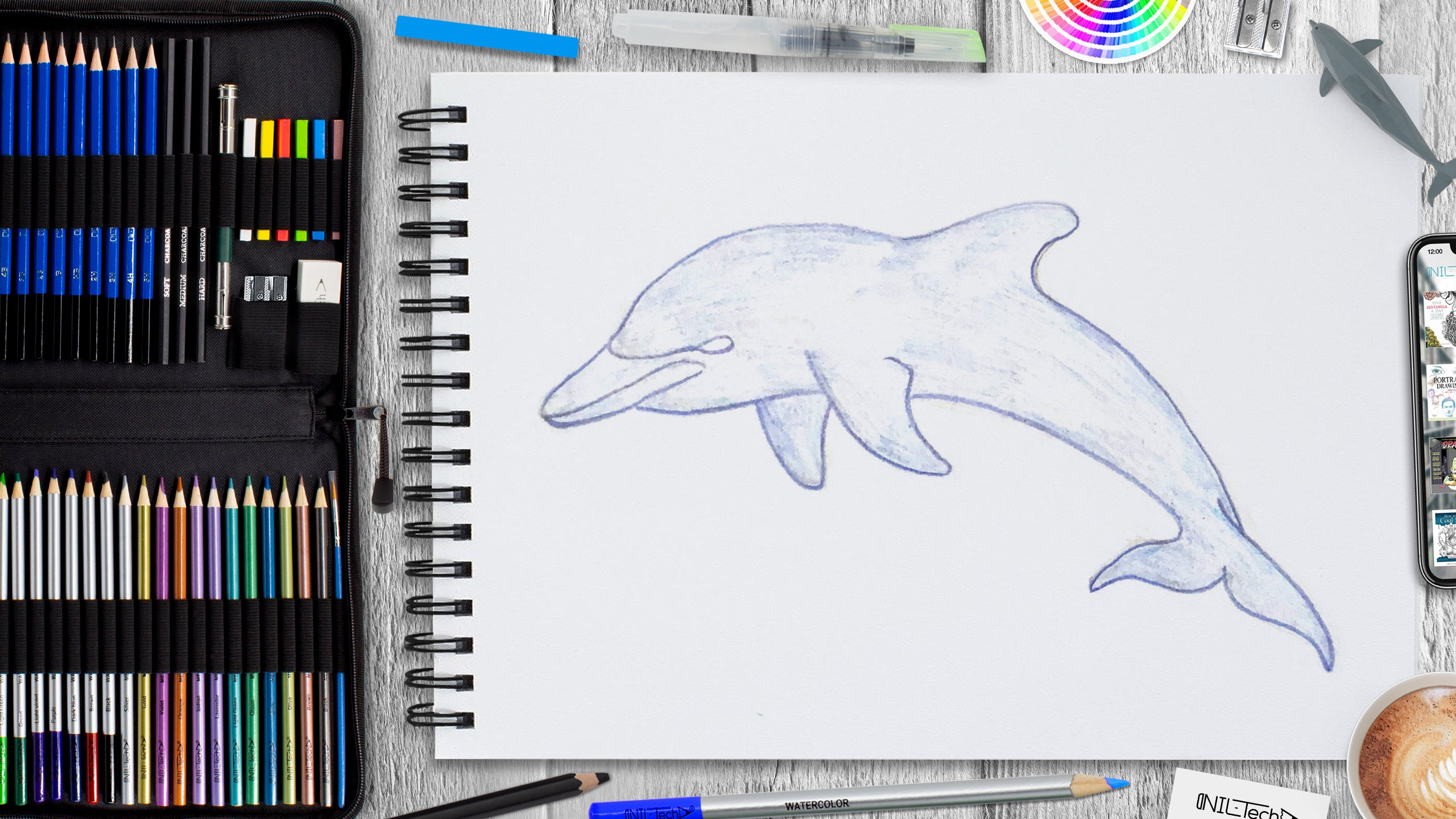 dolphin drawing easy