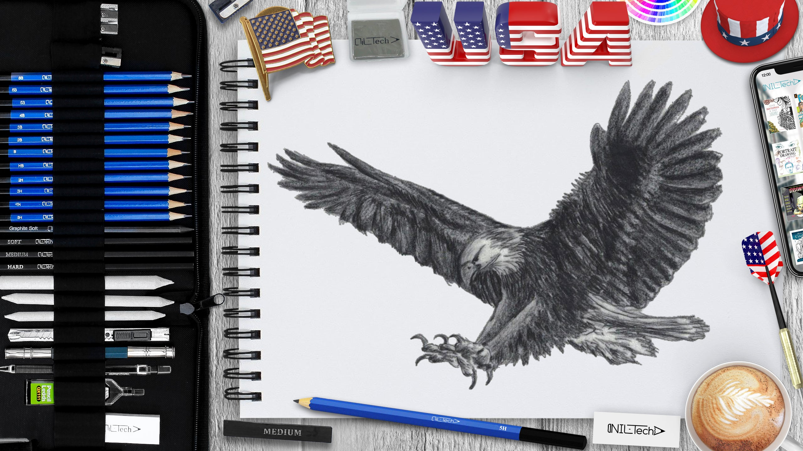 bold eagle pencil drawing step by step