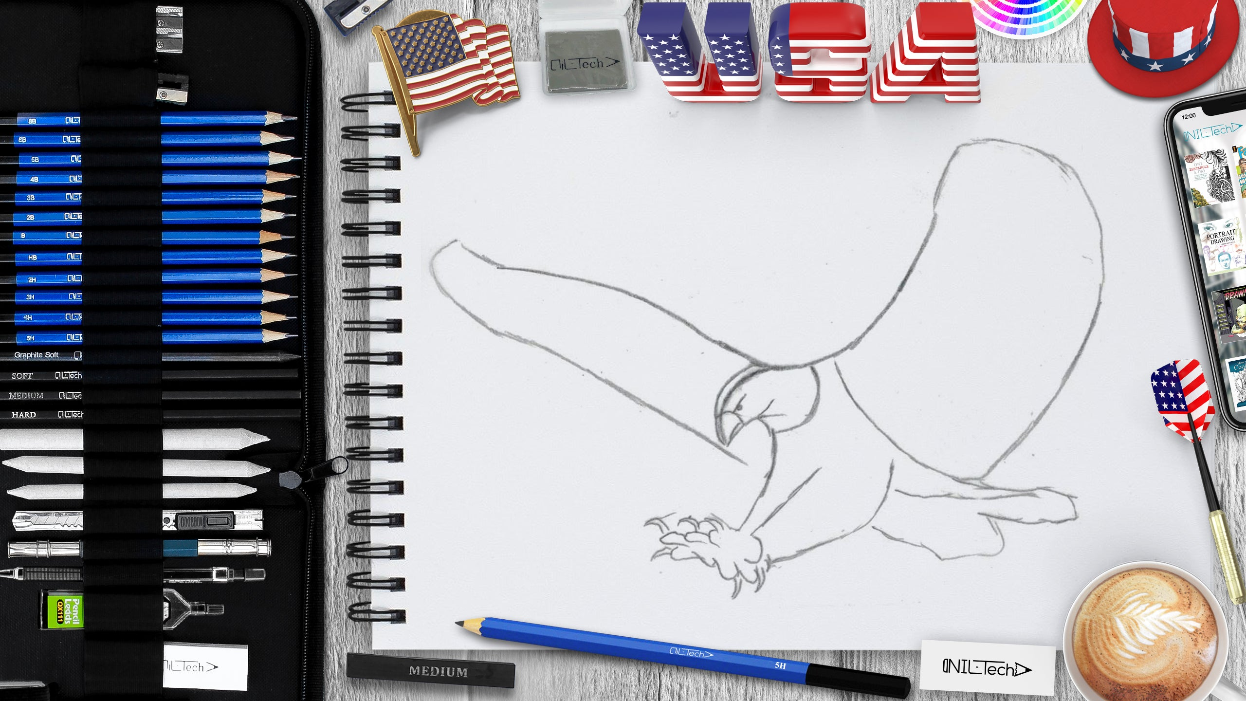 eagle seep by step drawing tutorial