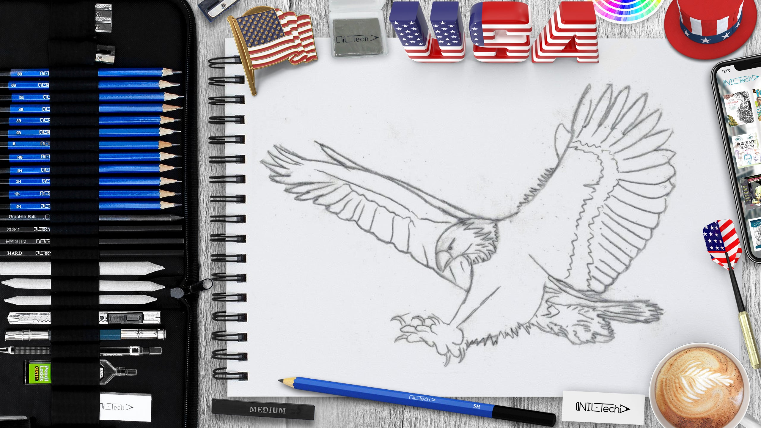 drawing bold eagle step bu step