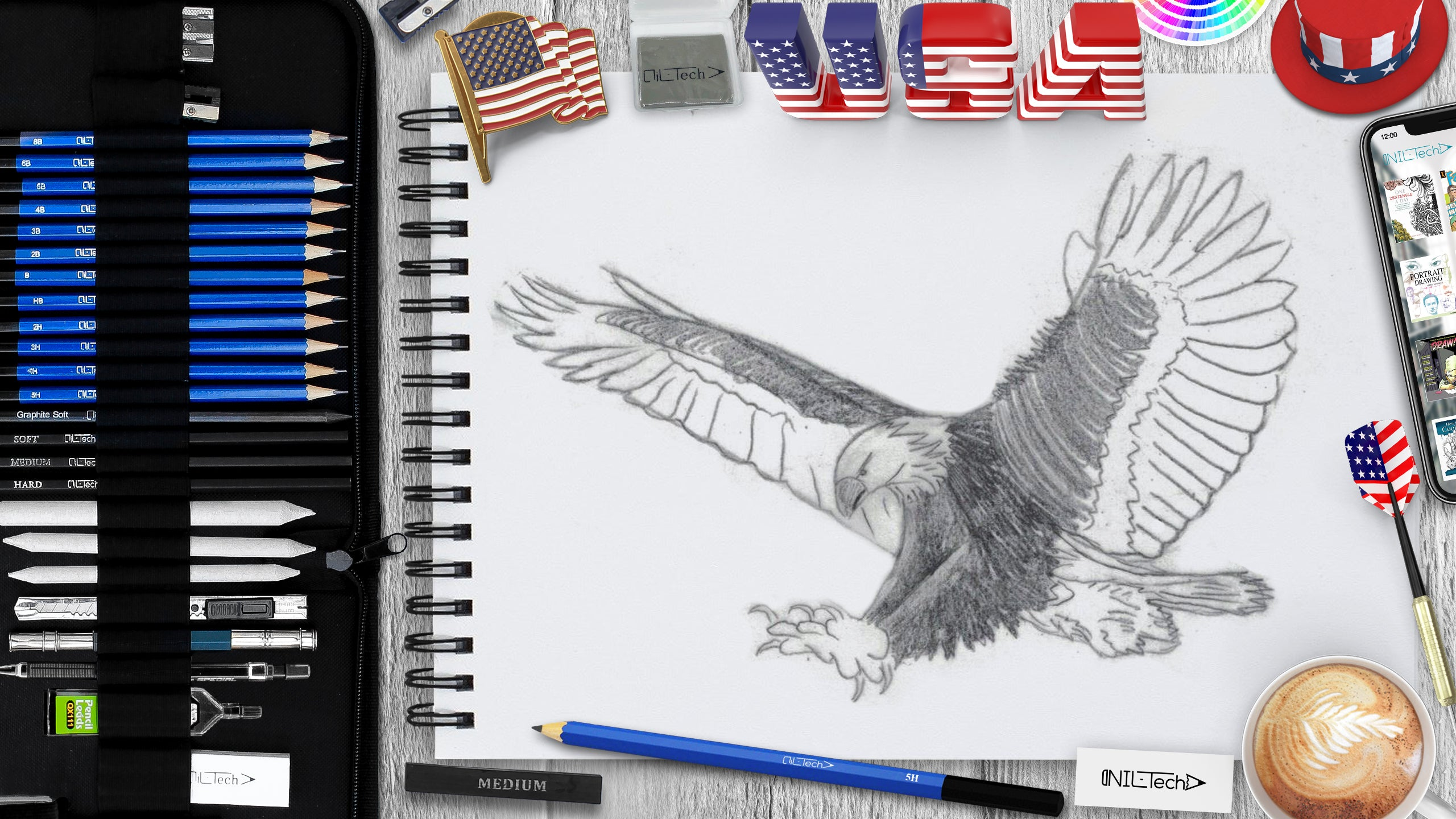 eagle sketching step by step tutorial