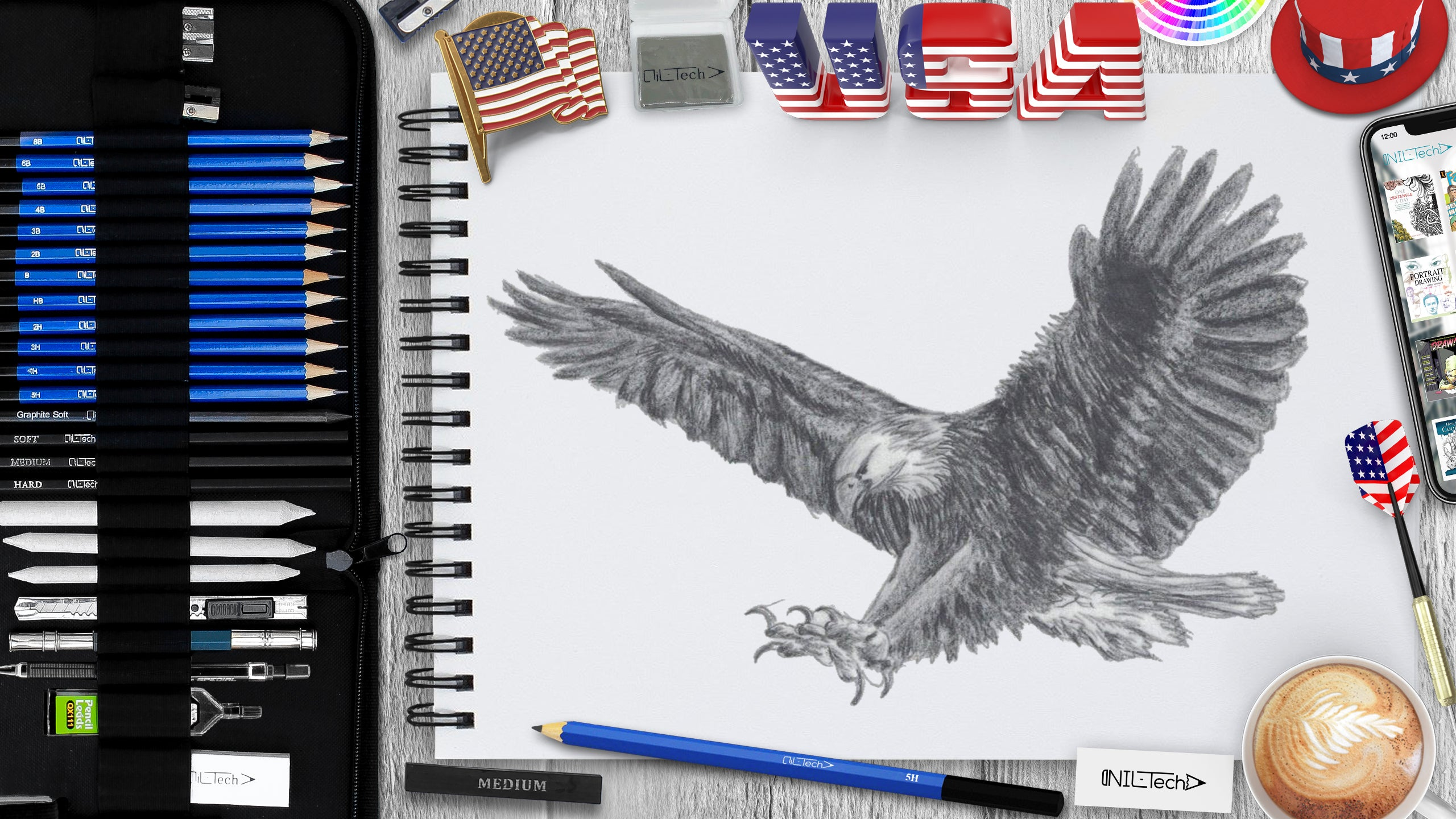 sketching eagle with pencils step by step