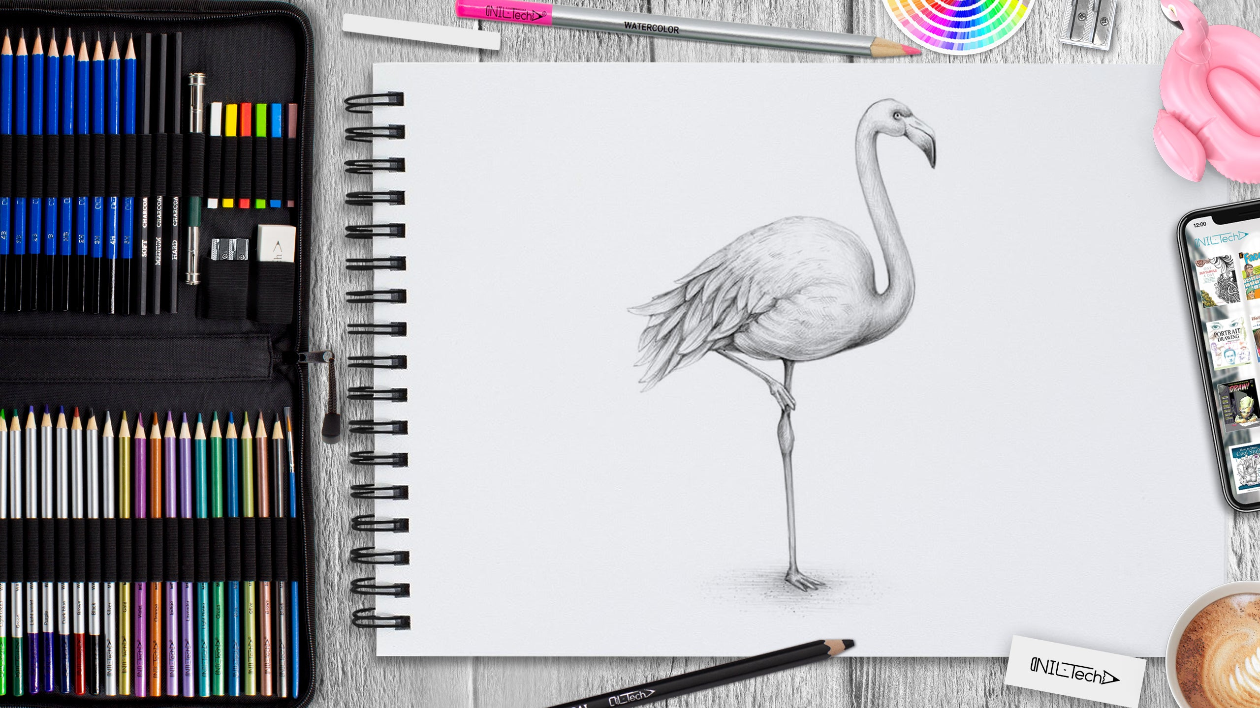 flamingo line art