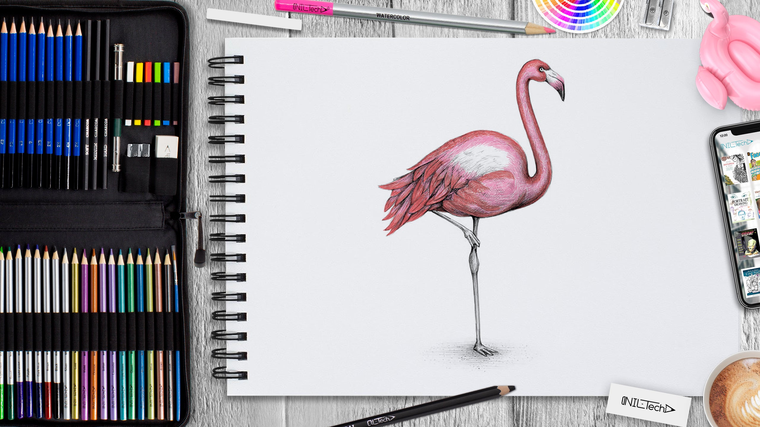 flamingo drawing step by step