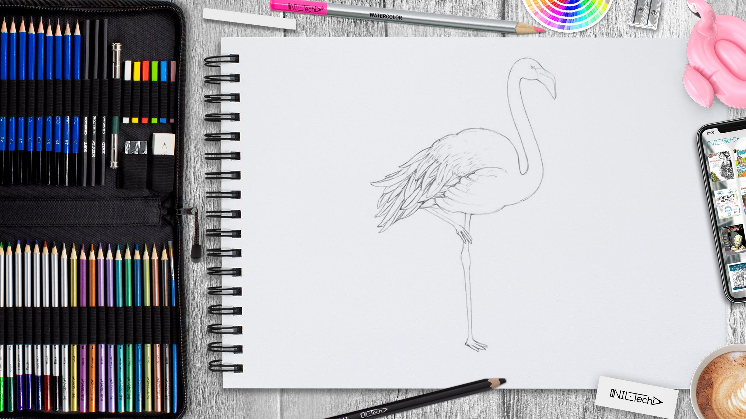 easy how to draw flamingo tutorial