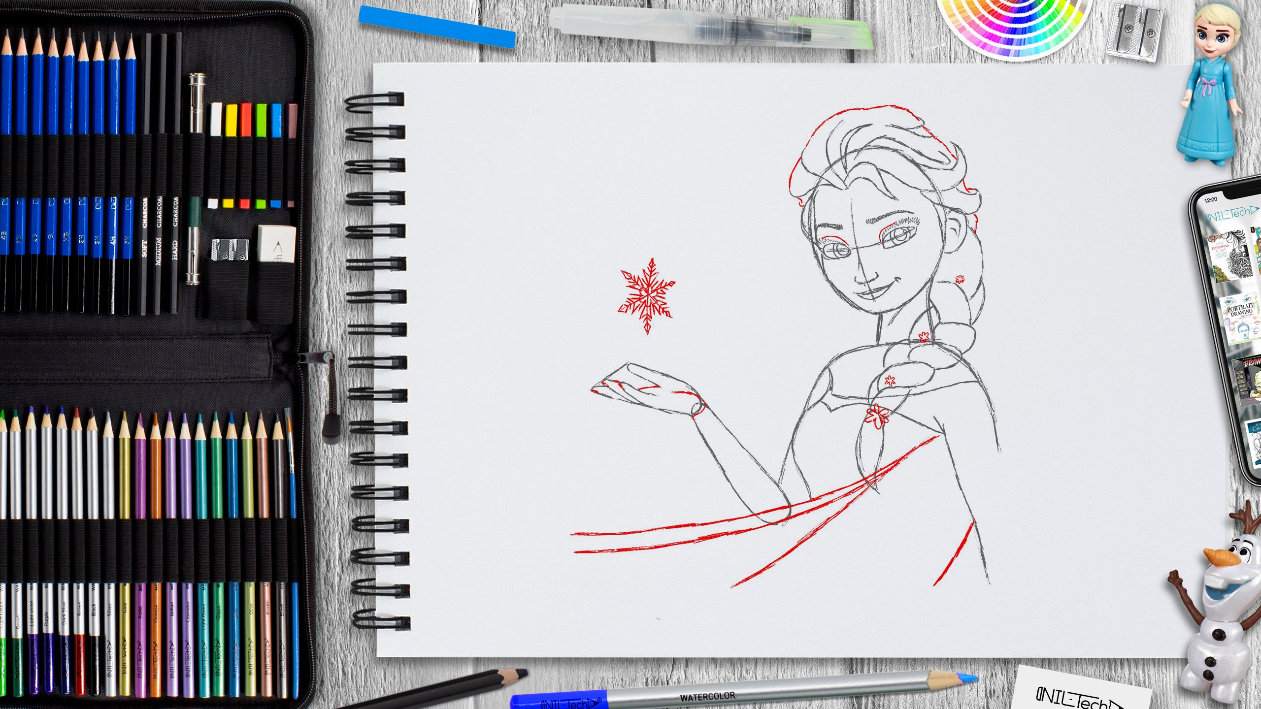 learn how to draw Elsa step by step