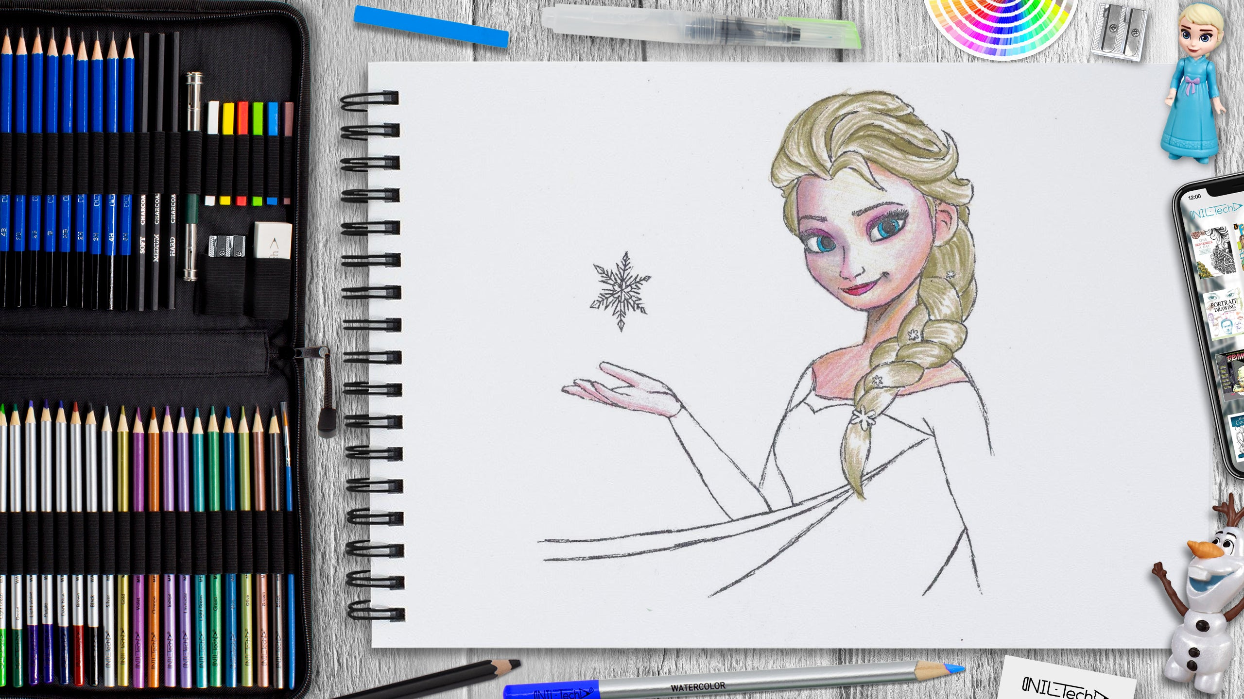 Elsa step by step pencil drawing tutorial