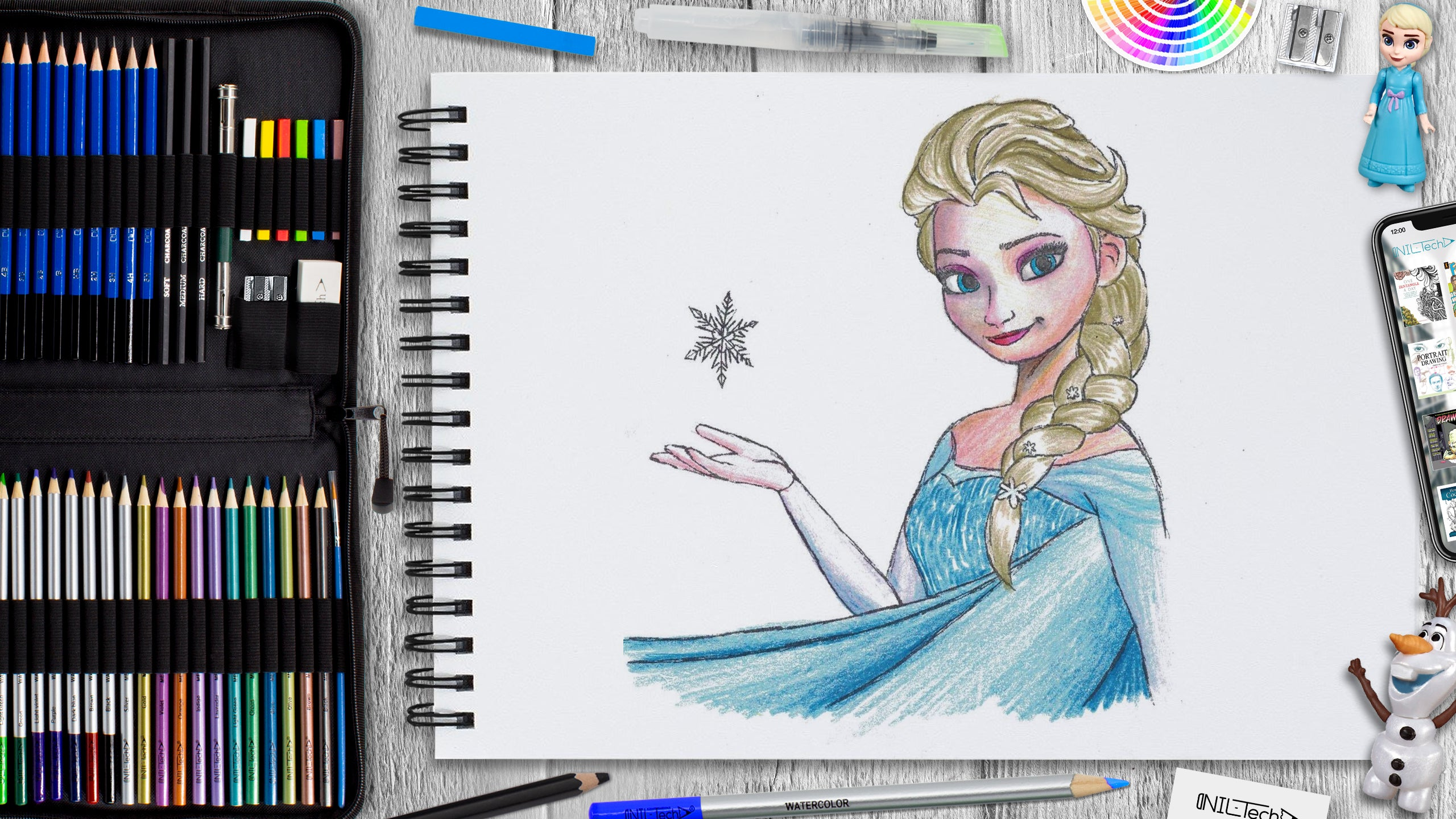 learn how to draw Elsa from frozen step by step