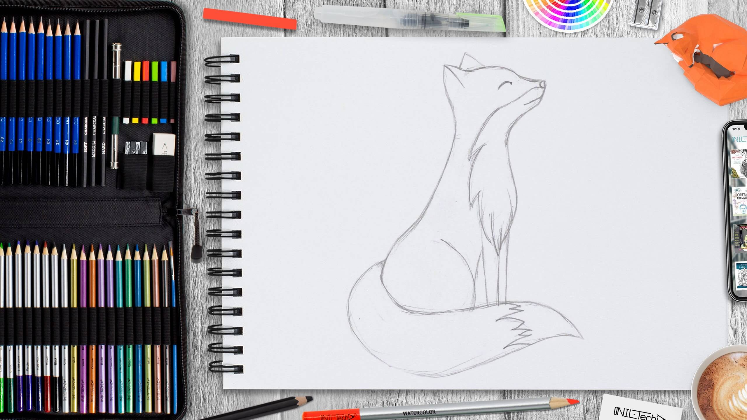 how to draw a fox easy