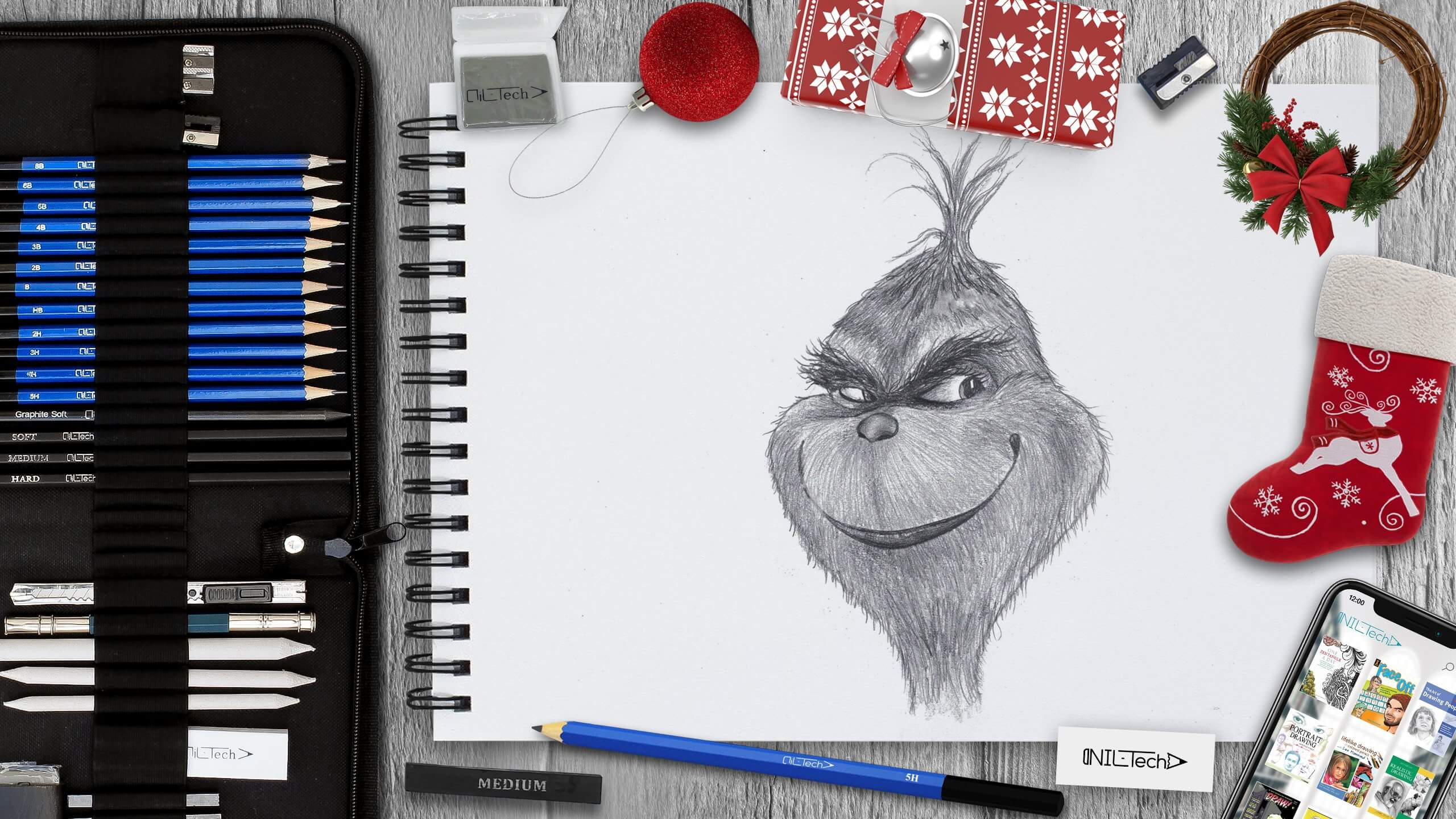 how to draw the grinch step by step