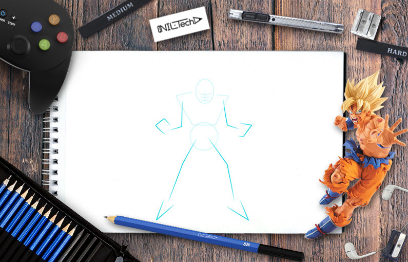 How to draw Dragon Ball character Goku step by step tutorial