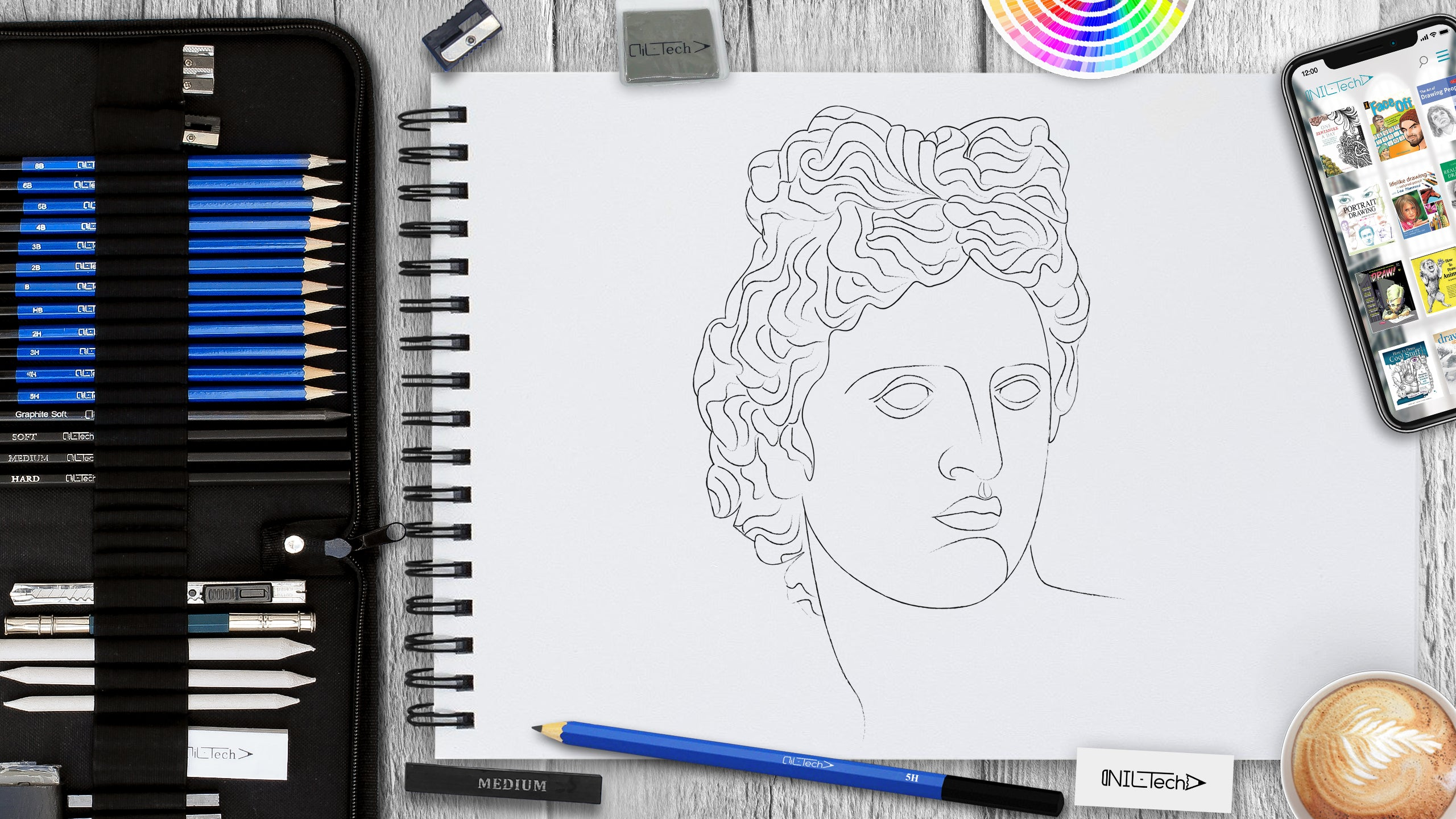 how to draw a head 3/4 view