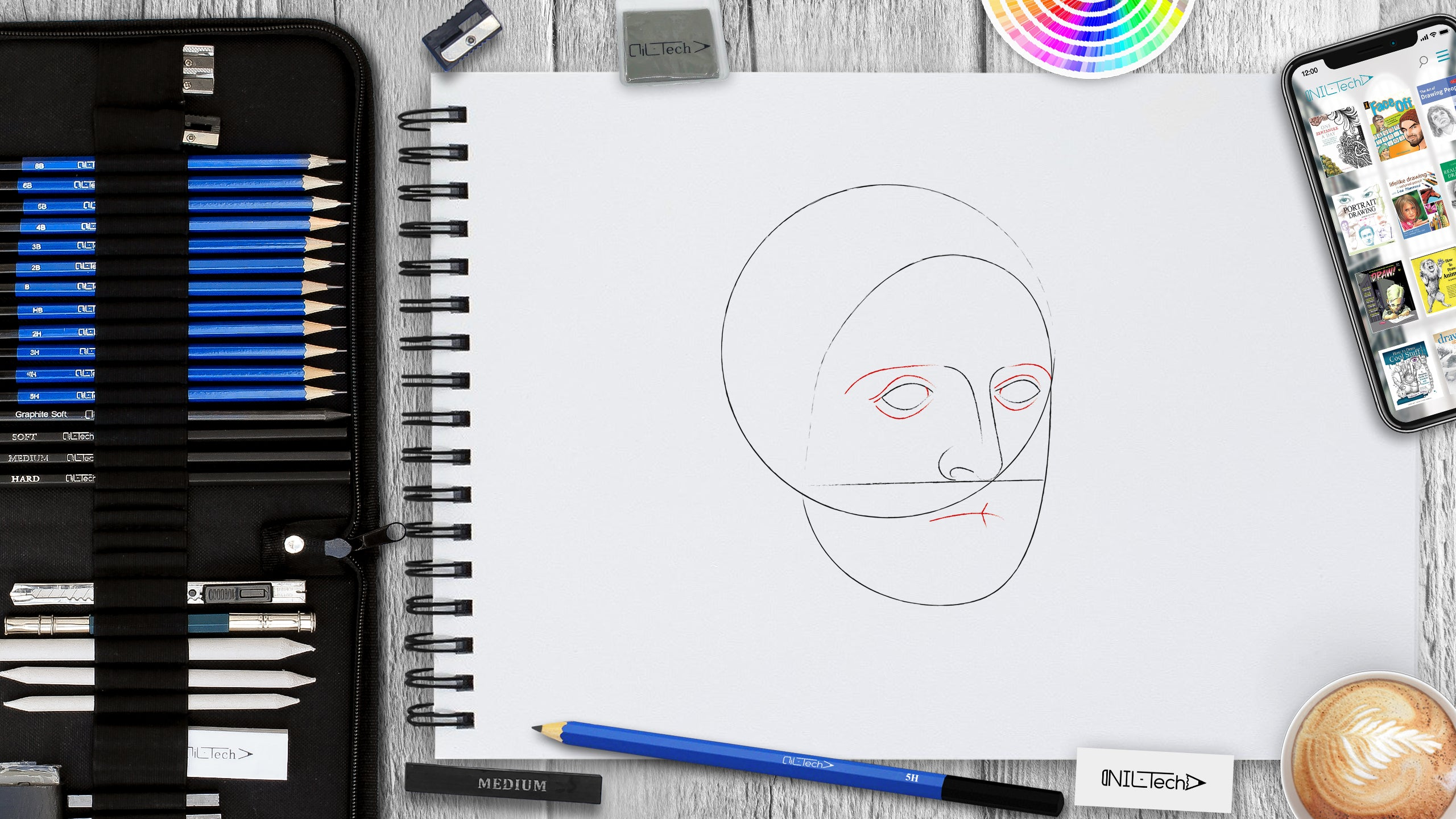 how to draw a head and face step by step