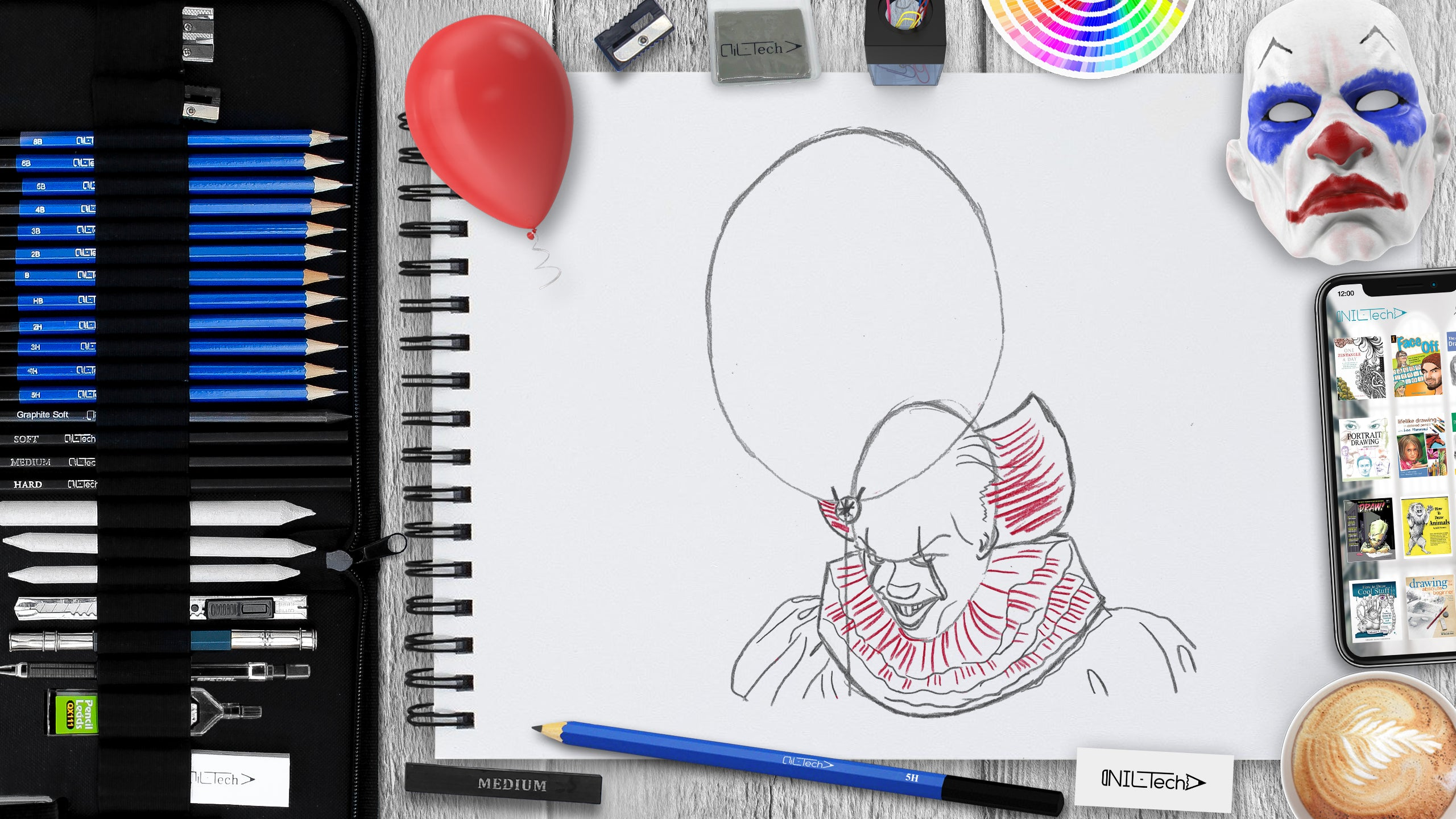 easy pennywise step by step drawing tutorial