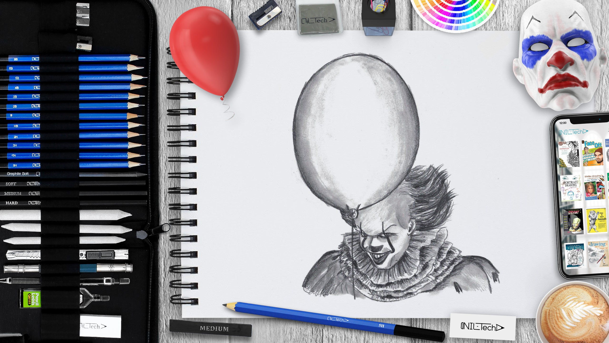 how to draw a clown from IT step by step